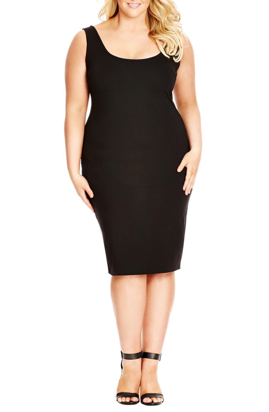 Basic BodyCon Tank Dress,                         Main,                         color, BLACK