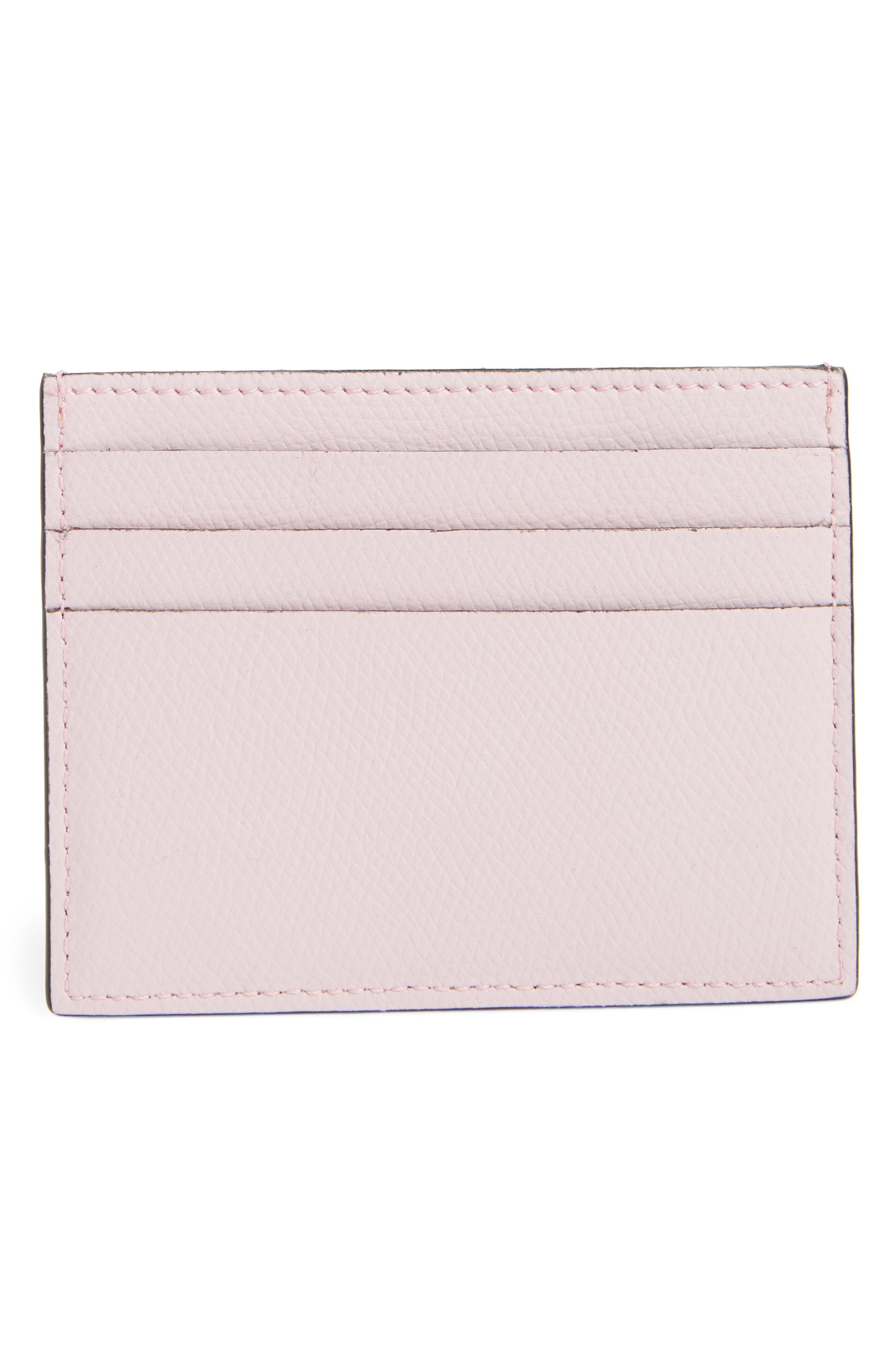 Leather Card Case,                             Alternate thumbnail 3, color,                             PEONY/ ORO SOFT
