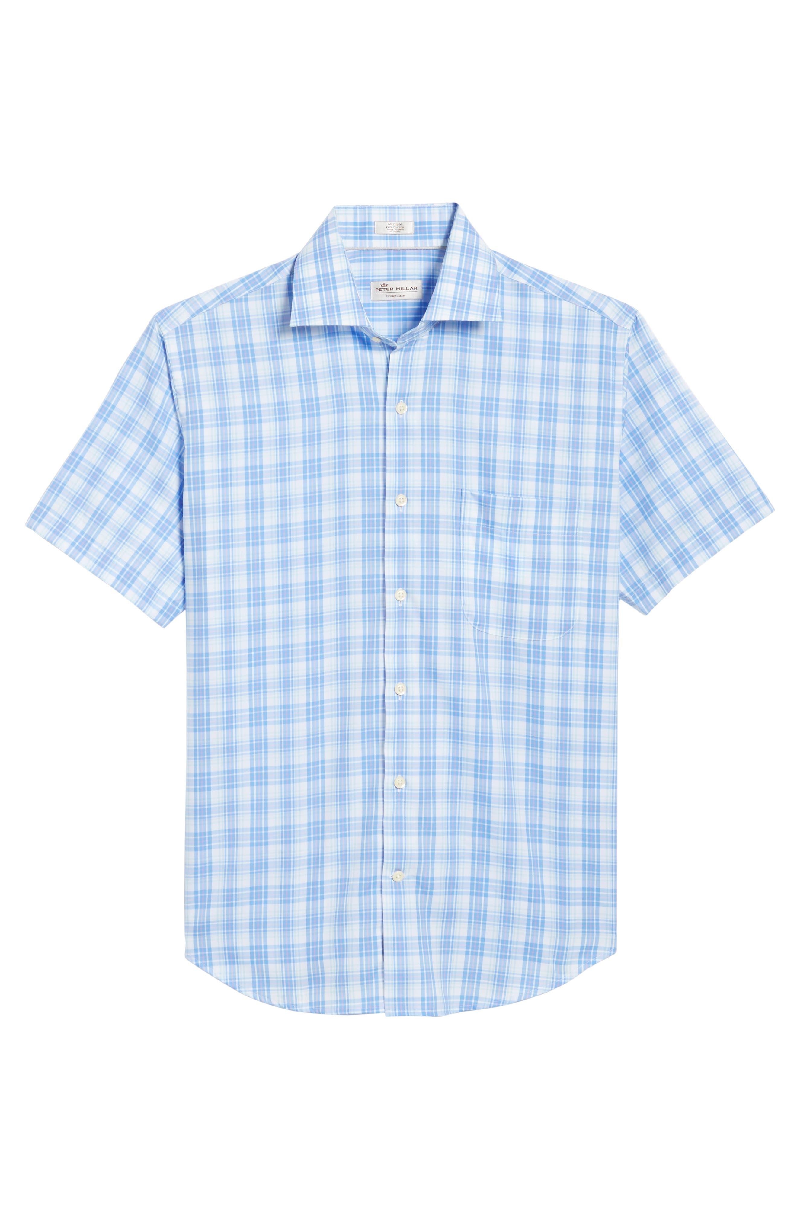 Crown Ease Sloan Regular Fit Plaid Sport Shirt,                             Alternate thumbnail 6, color,                             ATLAS BLUE