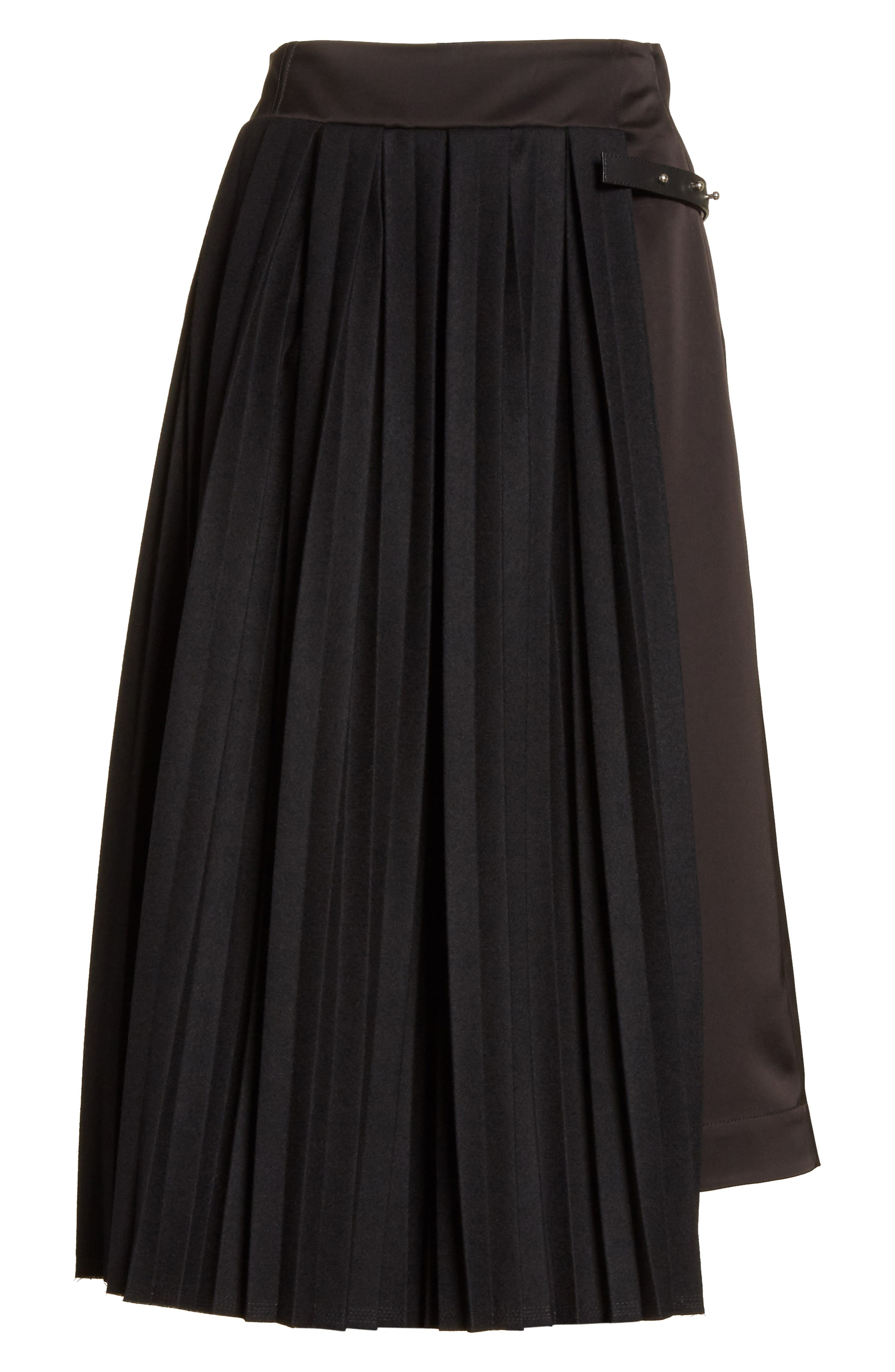 Pleated Panel Skirt,                             Alternate thumbnail 6, color,                             001