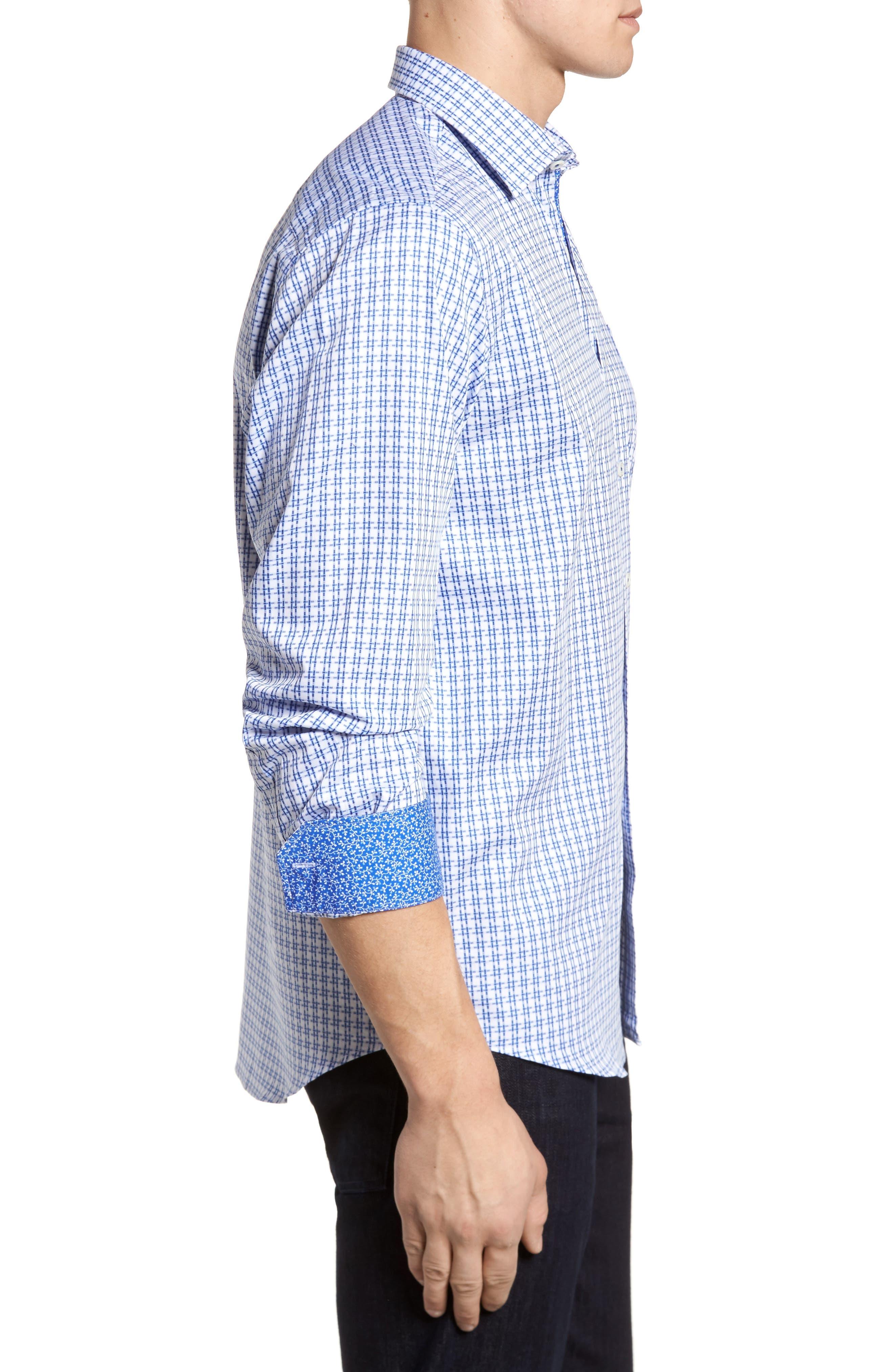 Double Stripe Classic Fit Sport Shirt,                             Alternate thumbnail 3, color,                             NAVY
