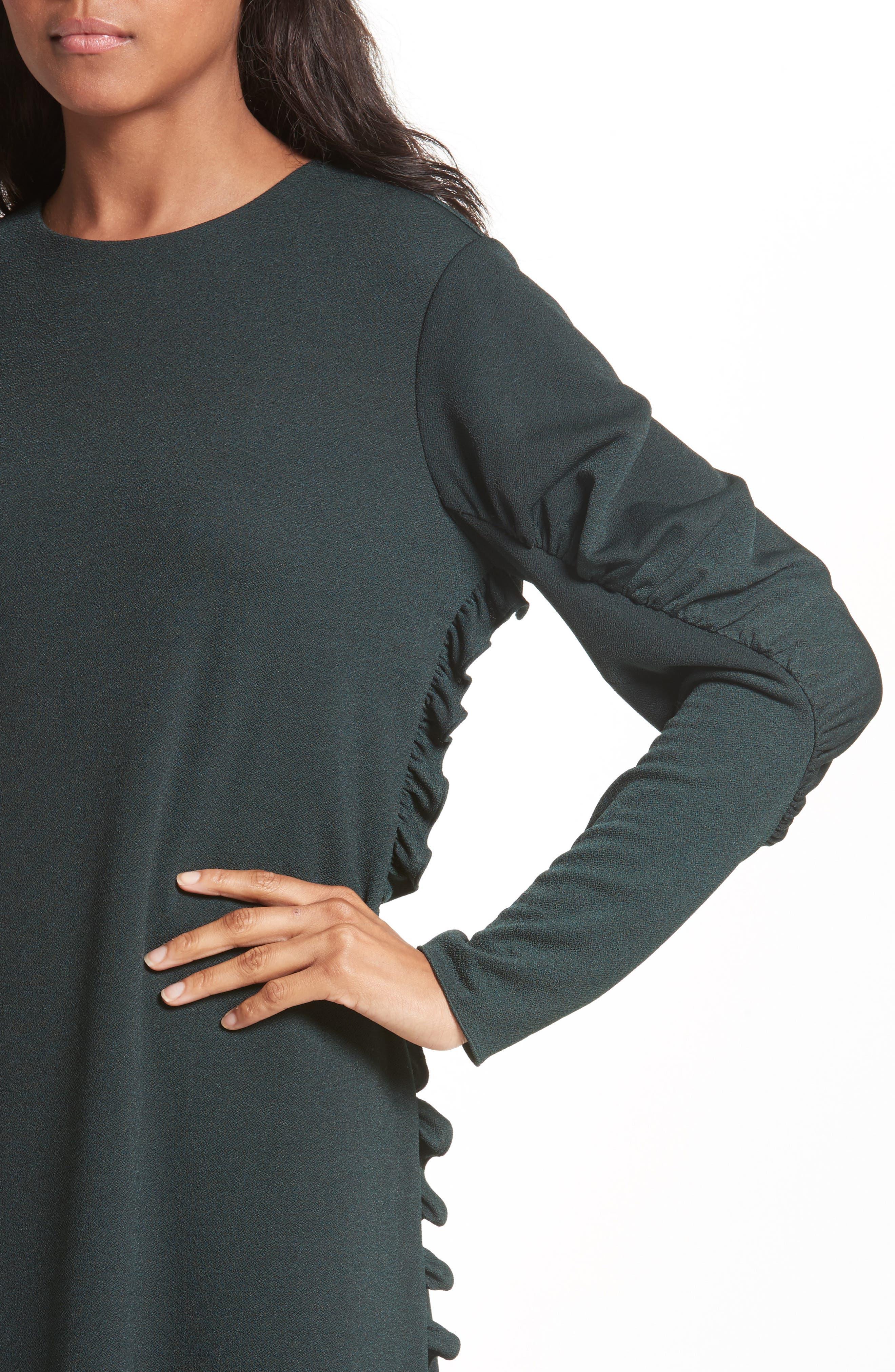 Ruffled Crepe Knit Midi Dress,                             Alternate thumbnail 4, color,                             303
