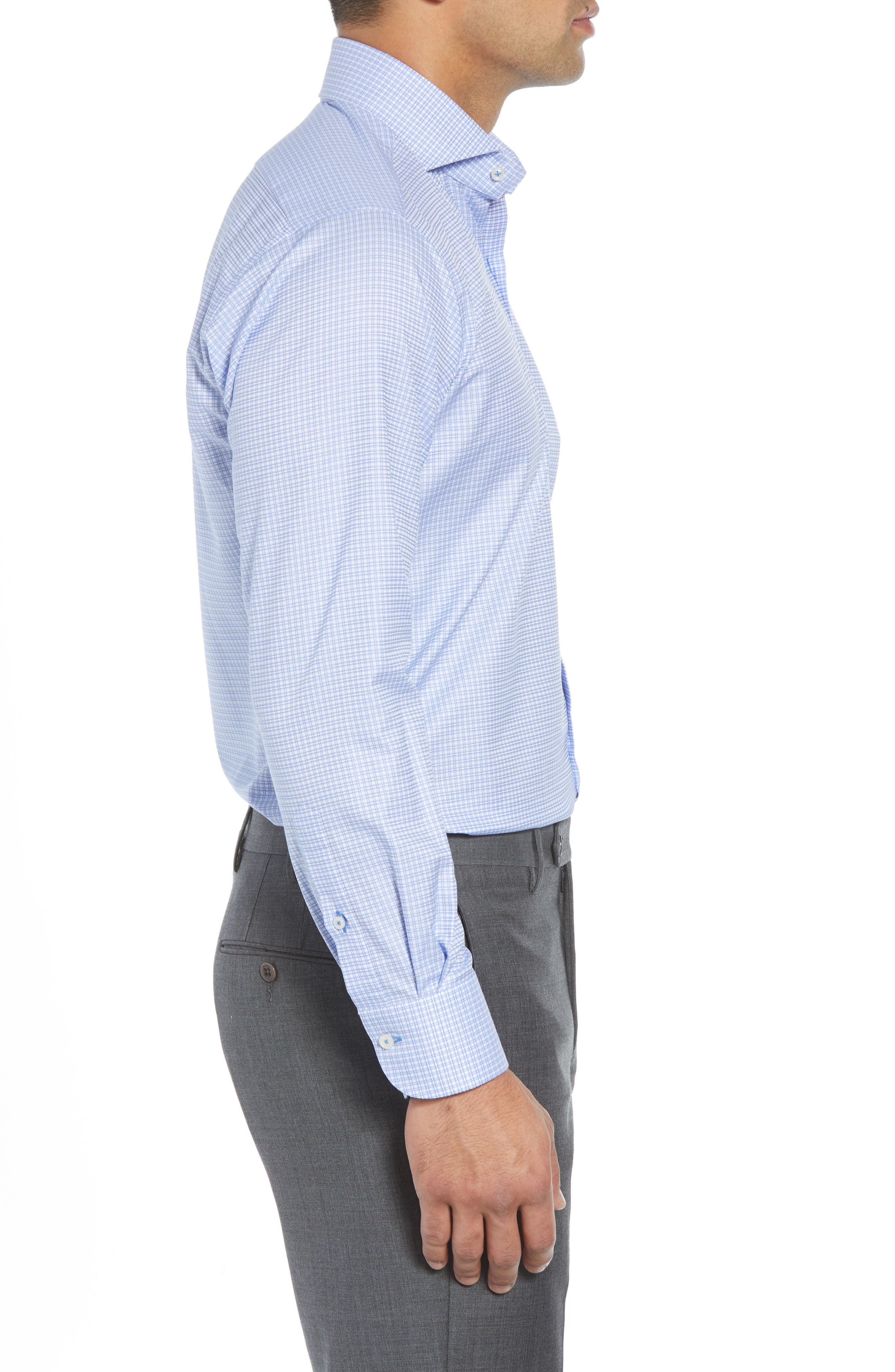Regular Fit Check Dress Shirt,                             Alternate thumbnail 4, color,                             BLUE