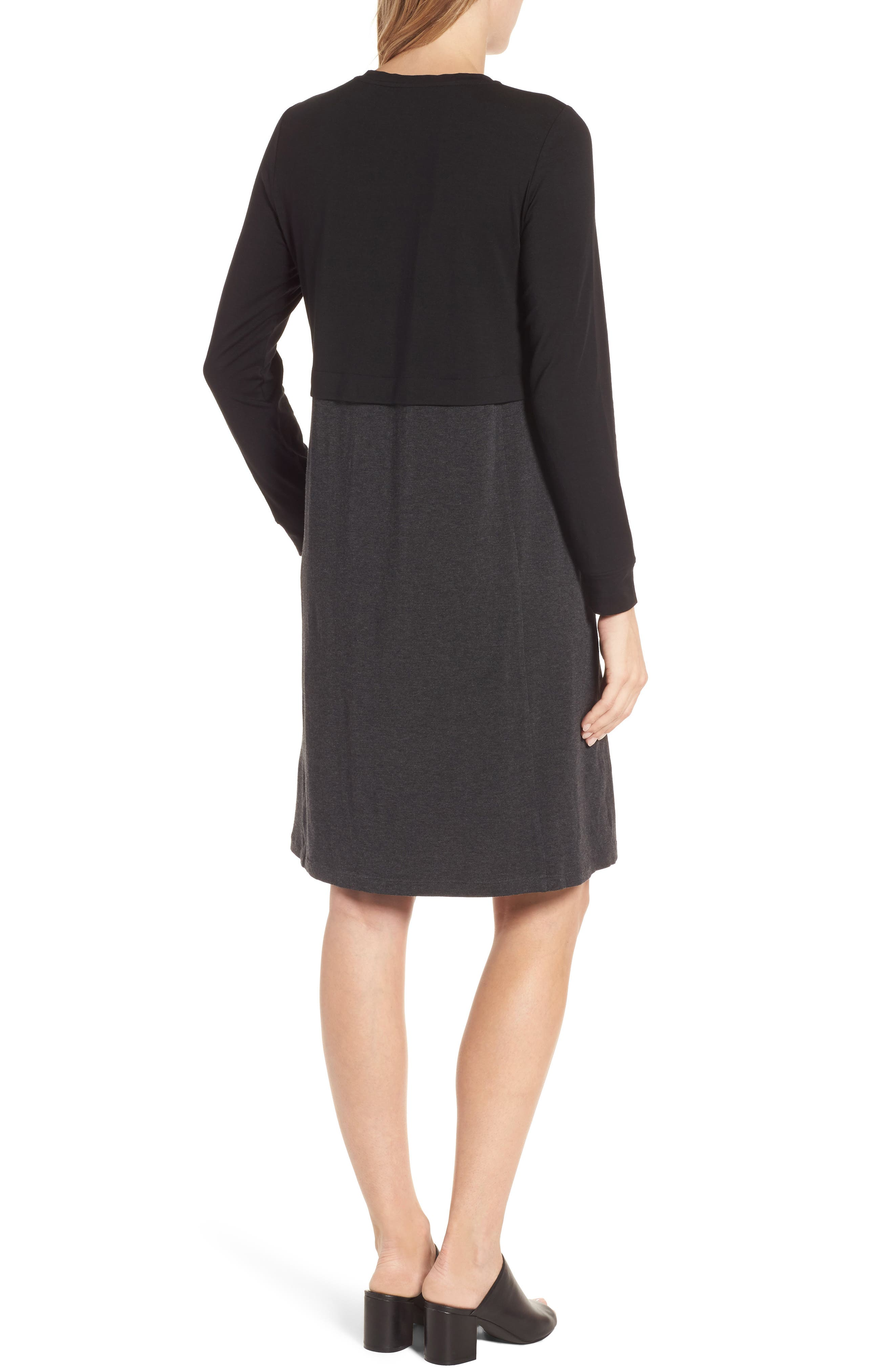 EILEEN FISHER,                             Stretch Tencel<sup>®</sup> A-Line Dress,                             Alternate thumbnail 2, color,                             010
