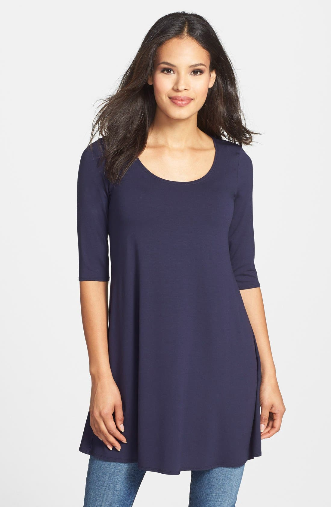 Scoop Neck Elbow Sleeve Jersey Tunic,                             Main thumbnail 9, color,