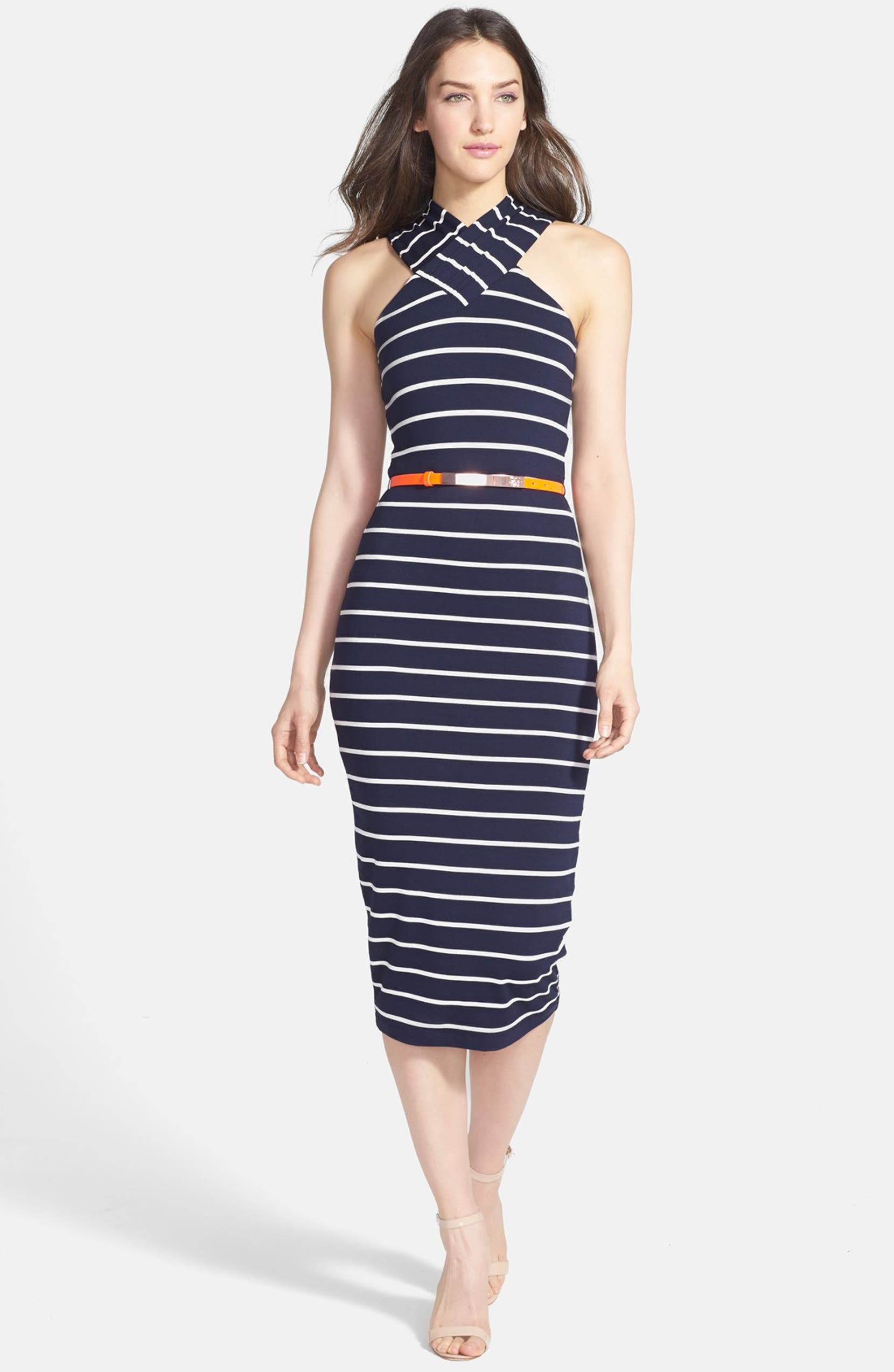 3cb4714b0 Ted Baker London Belted Stretch Midi Dress | Nordstrom