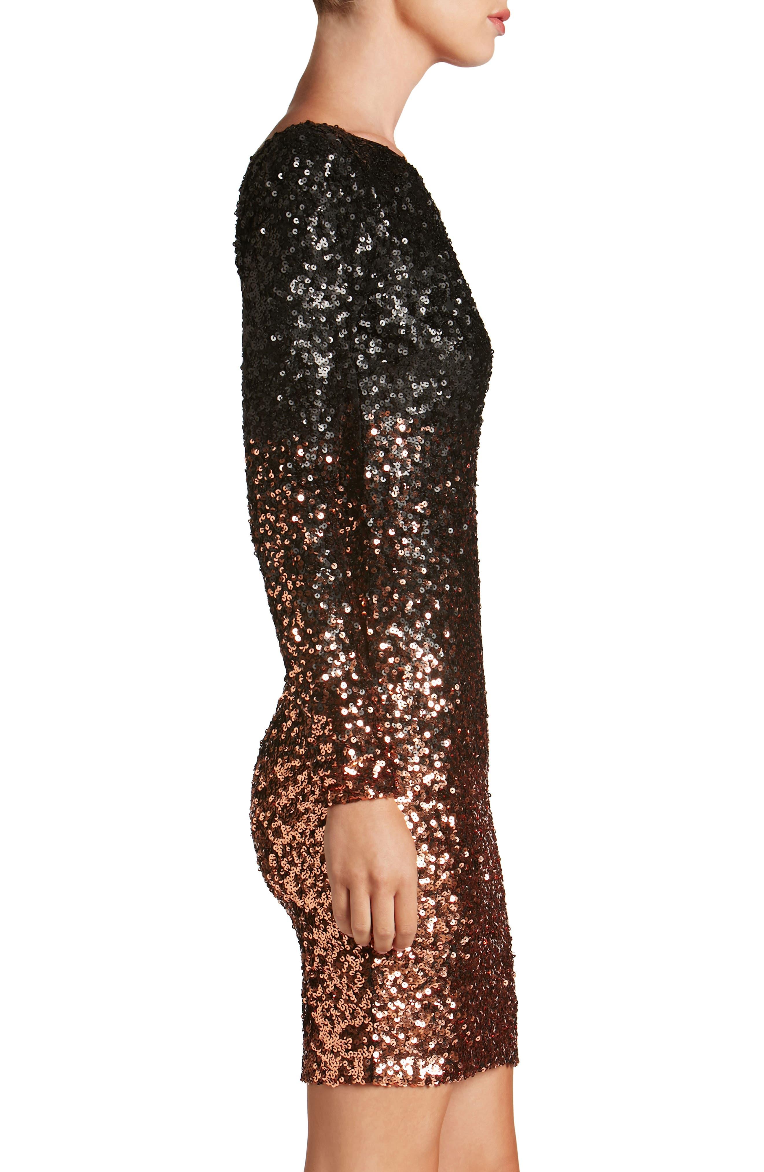 Lola Ombré Sequin Body-Con Dress,                             Alternate thumbnail 3, color,                             015