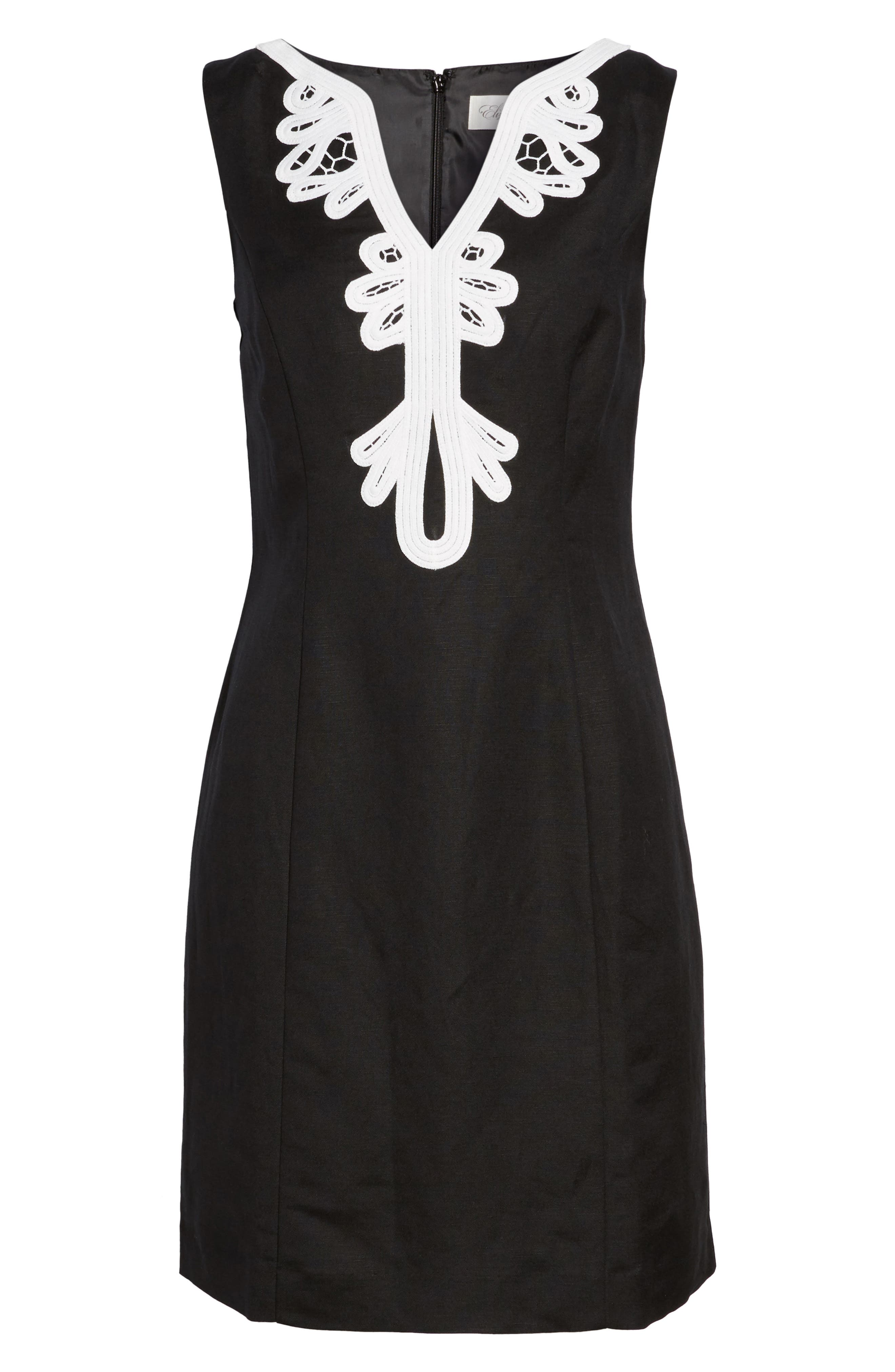 Embroidered Neck Sheath Dress,                             Alternate thumbnail 7, color,                             001