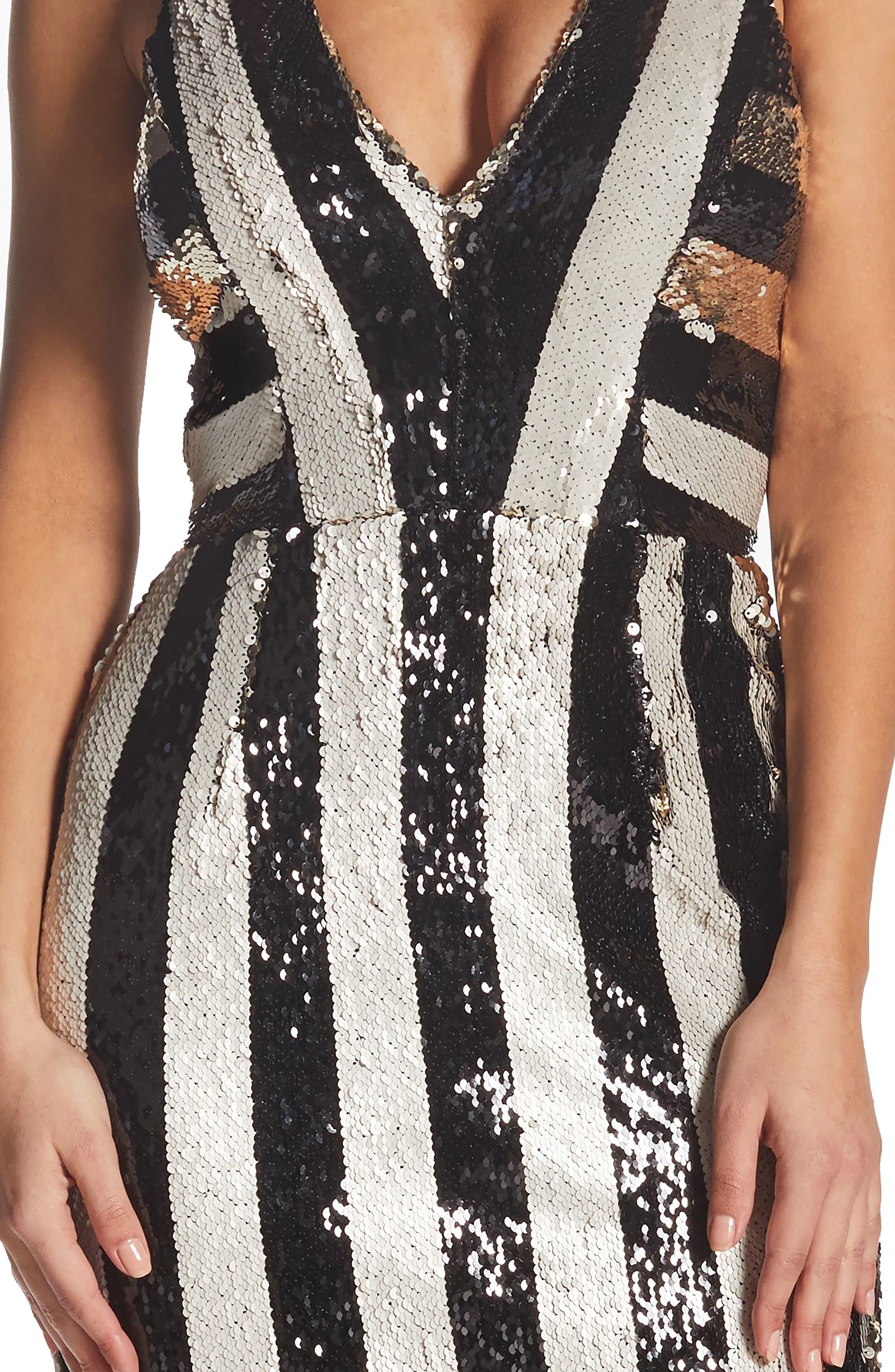 DRESS THE POPULATION,                             Margo Plunging Stripe Dress,                             Alternate thumbnail 4, color,                             002
