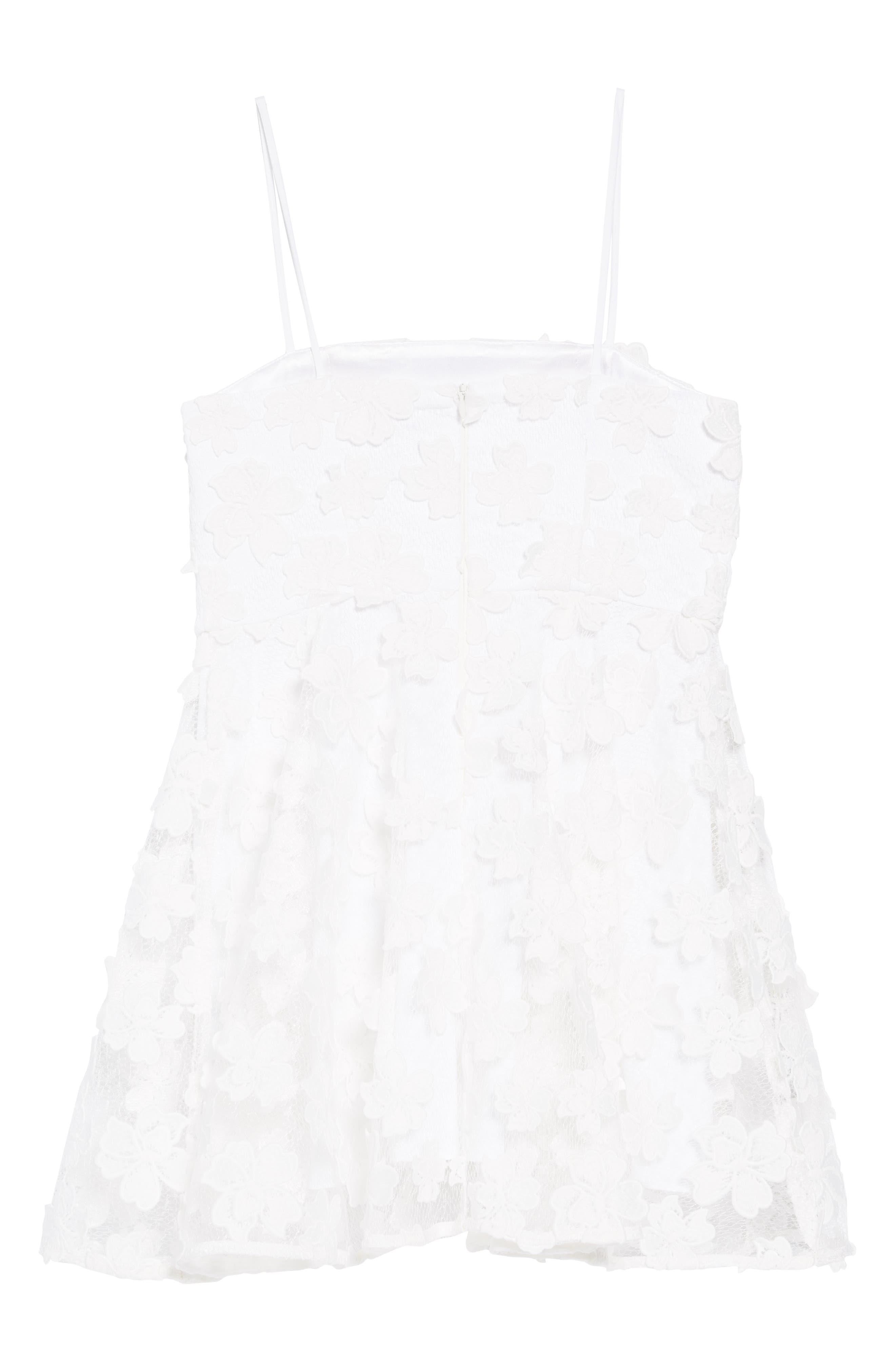 Avery Floral Appliqué Dress,                             Alternate thumbnail 2, color,                             WHITE
