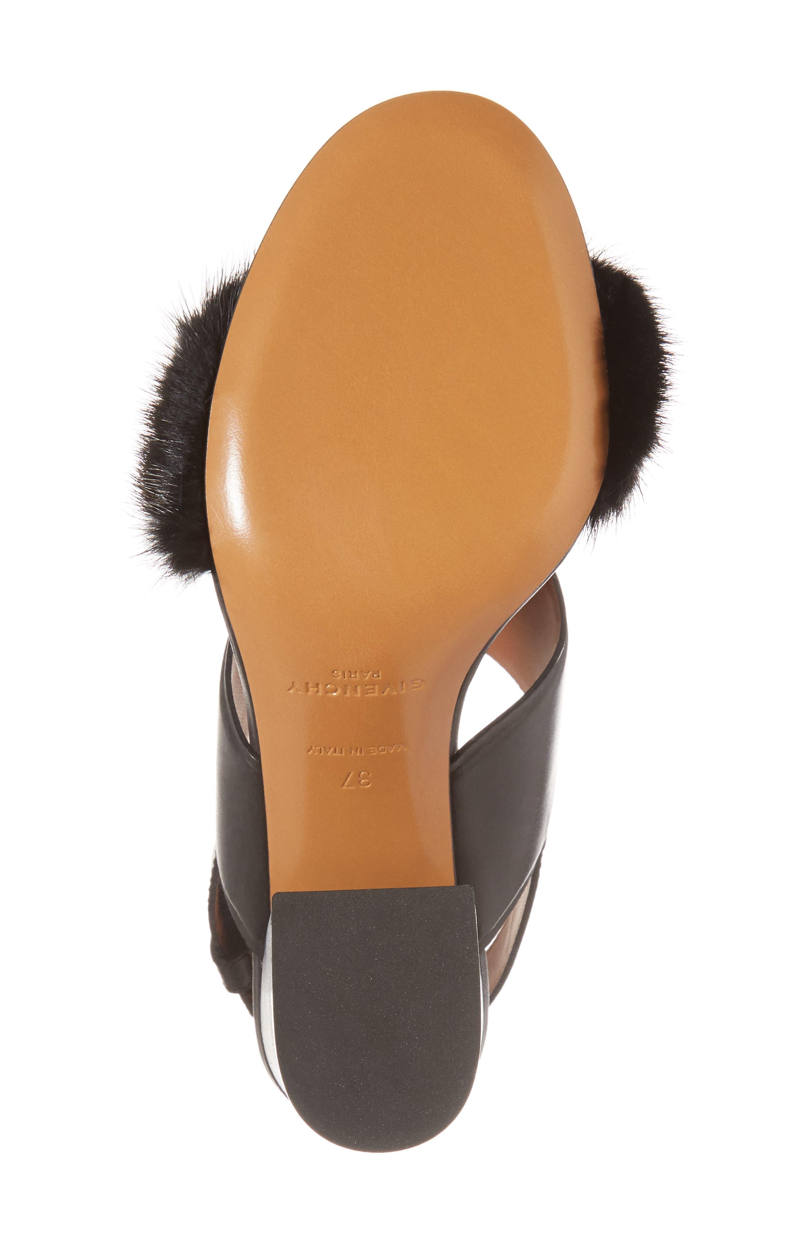 Genuine Mink Flared Heel Sandal,                             Alternate thumbnail 6, color,                             001