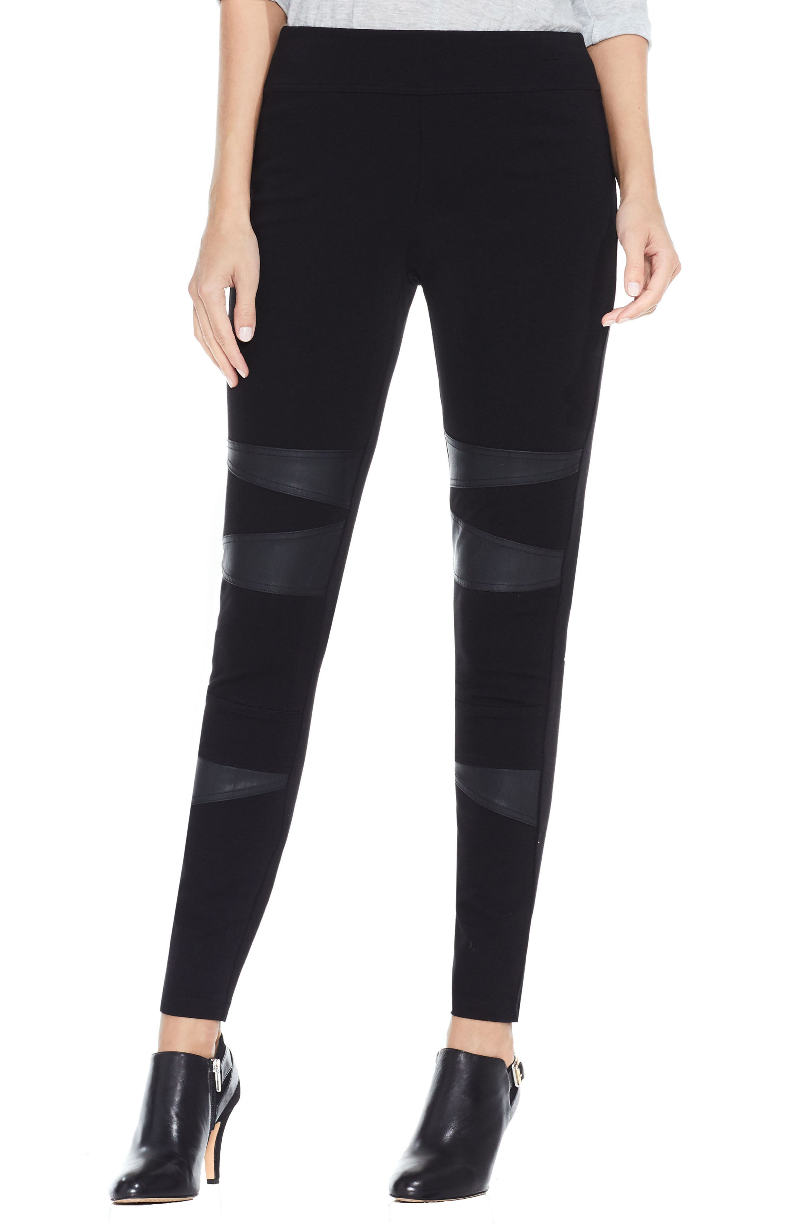 Two by Vince Camuto Faux Leather Trim Moto Leggings,                             Main thumbnail 1, color,                             001