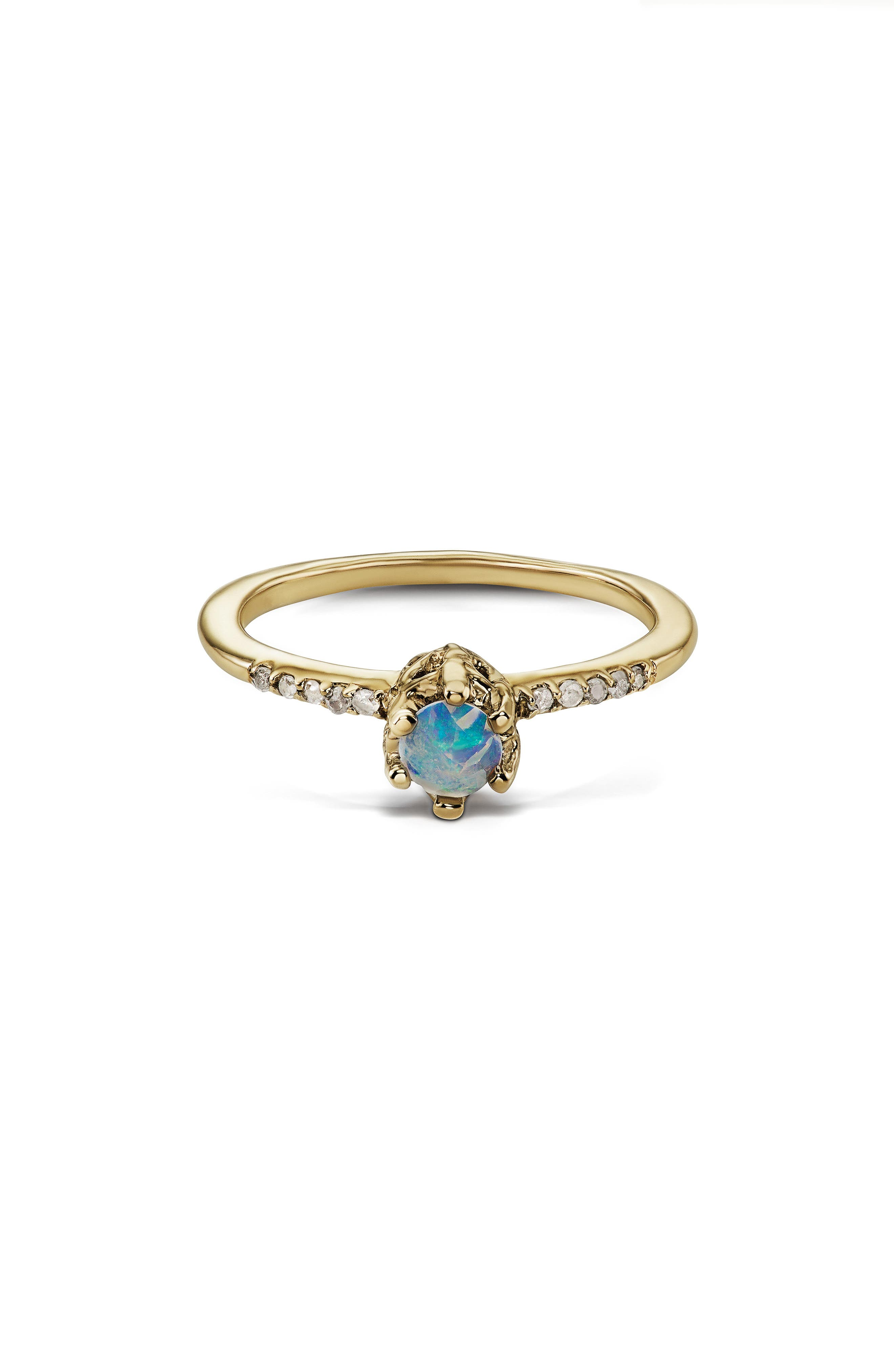 Entity Opal & Diamond Solitaire Ring,                             Main thumbnail 1, color,                             YELLOW GOLD/ OPAL
