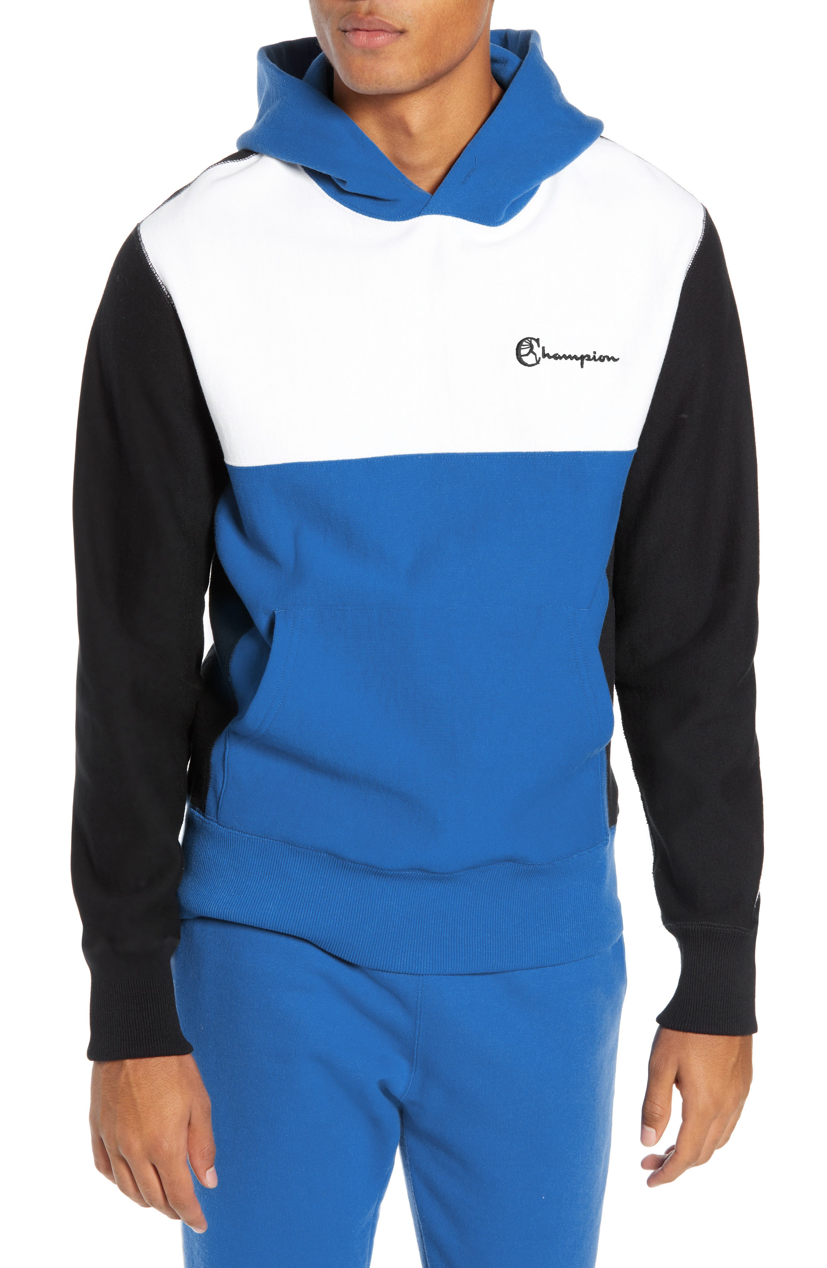 Regular Fit Colorblock Hoodie, Main, color, BLUE
