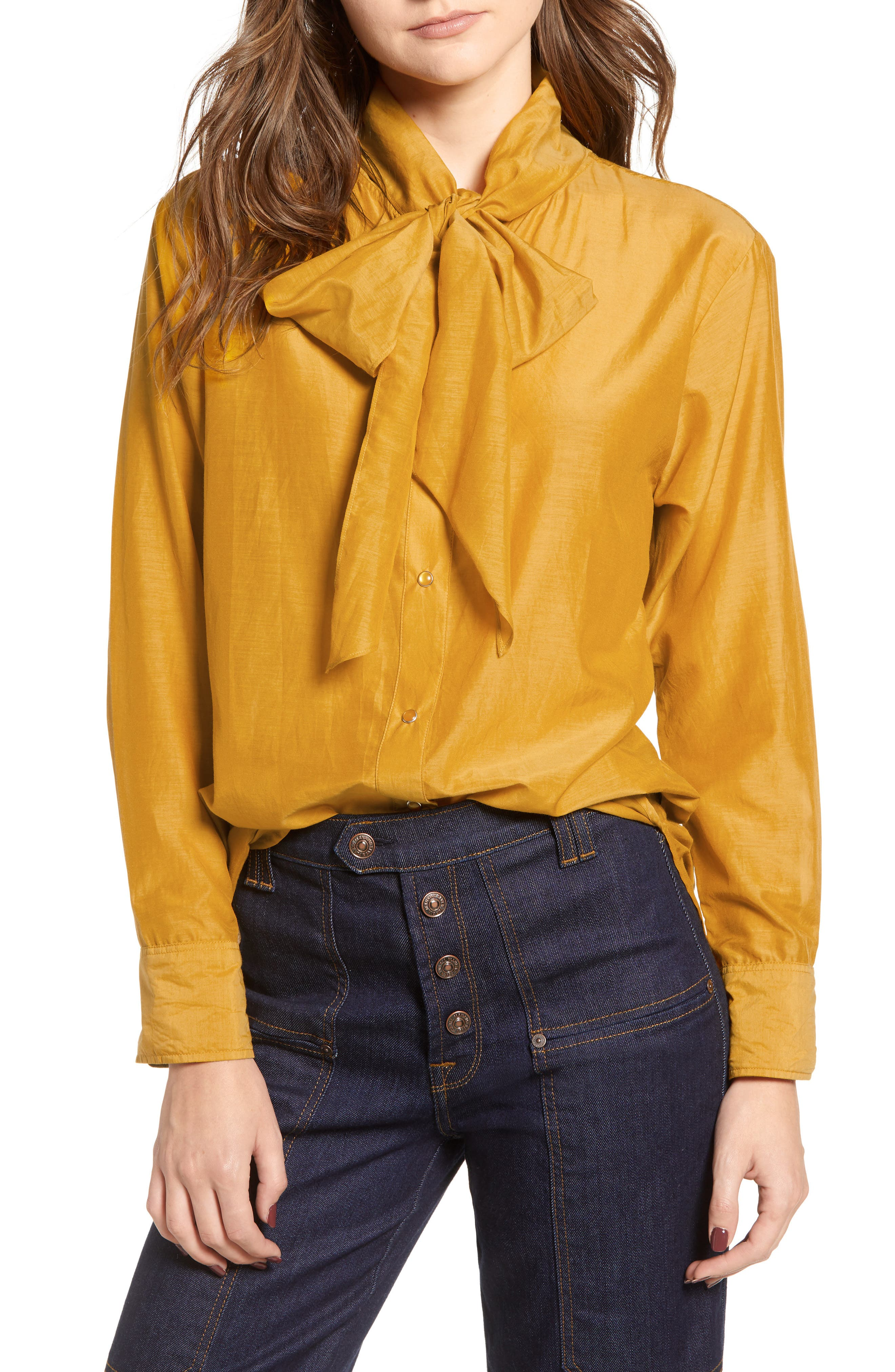 Cotton Silk Bow Tie Blouse,                         Main,                         color, 720