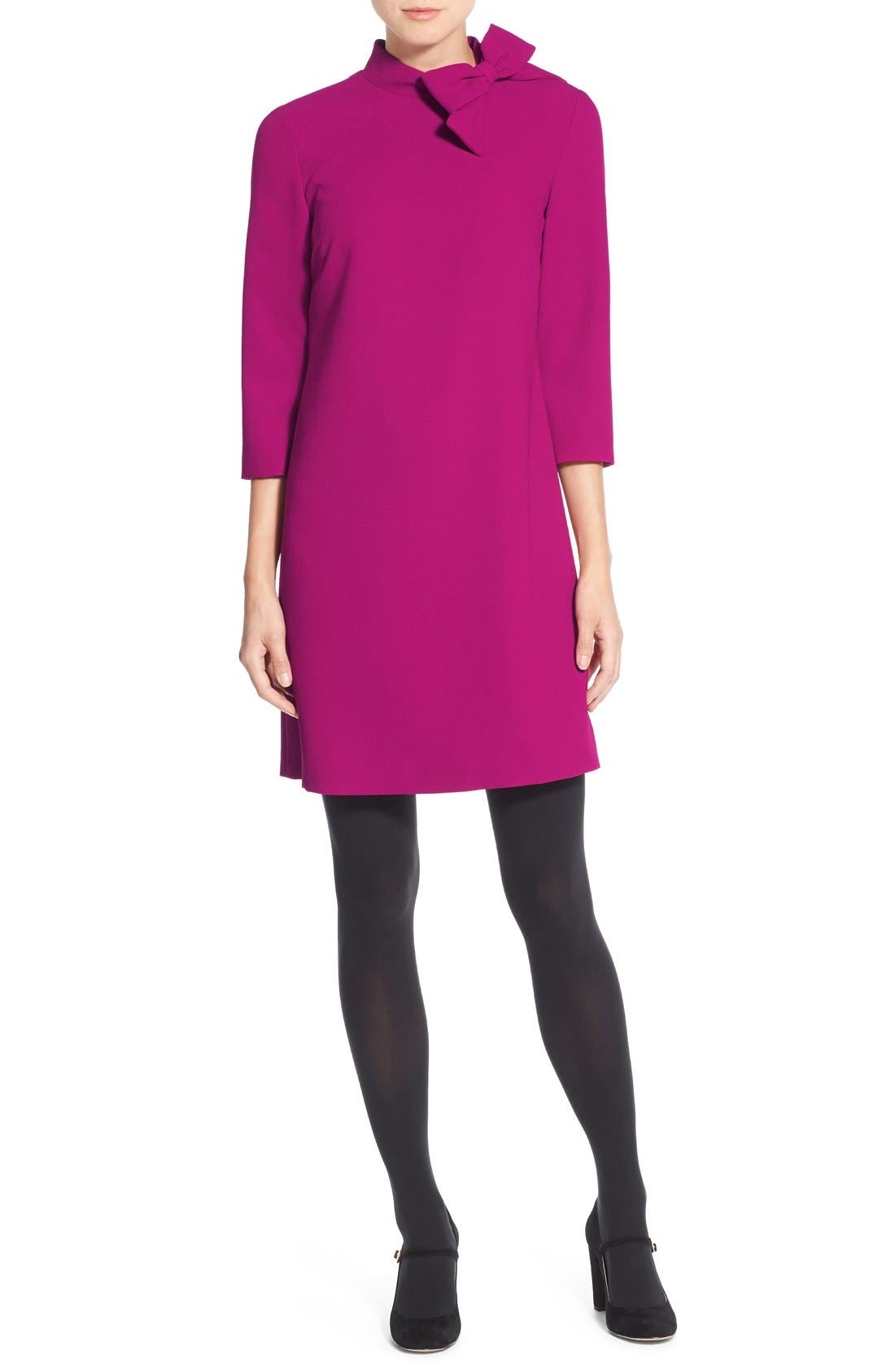 Bow Crepe A-Line Dress,                             Alternate thumbnail 13, color,                             PINK