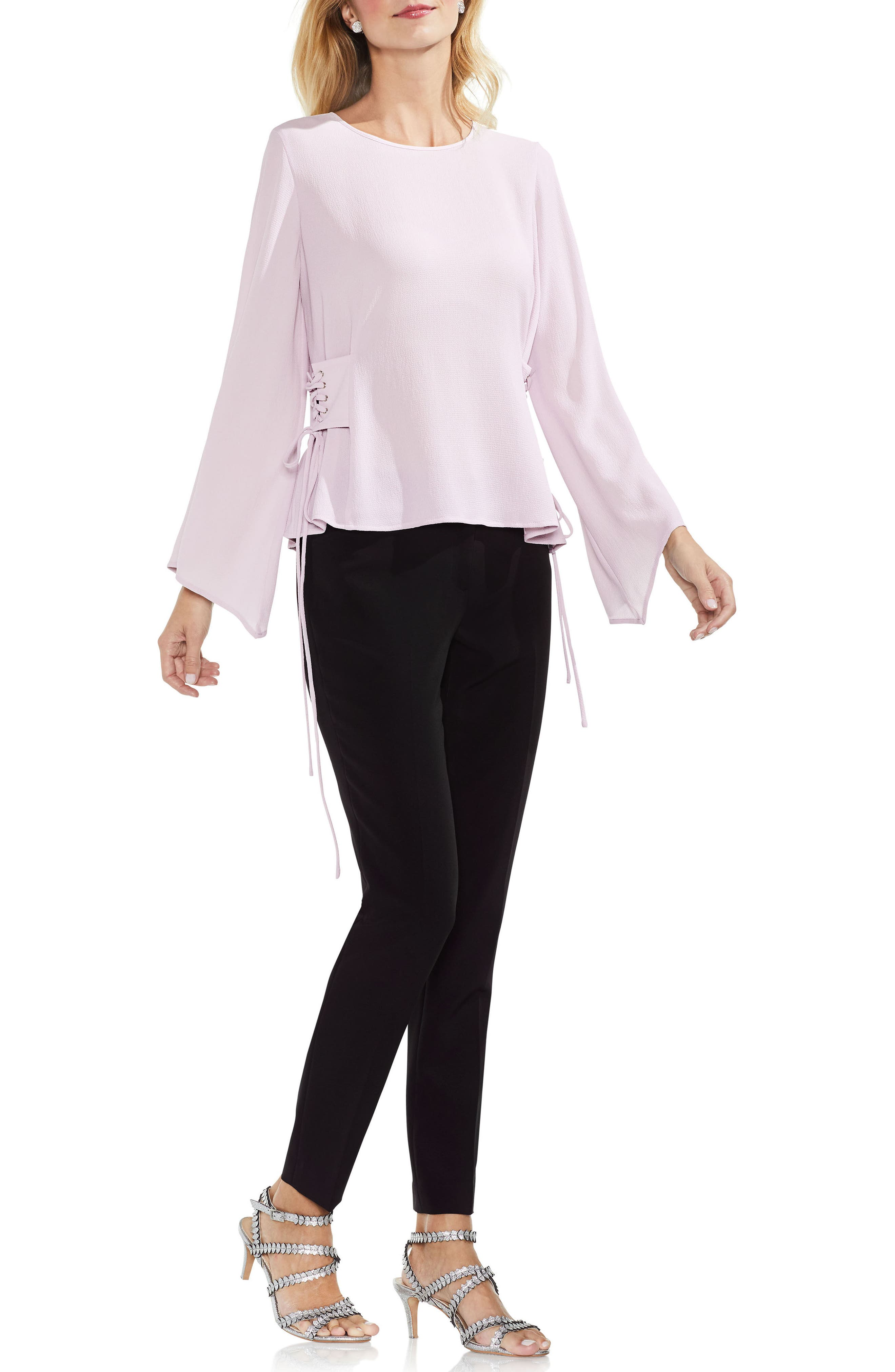 Lace-Up Bell Sleeve Blouse,                             Alternate thumbnail 12, color,