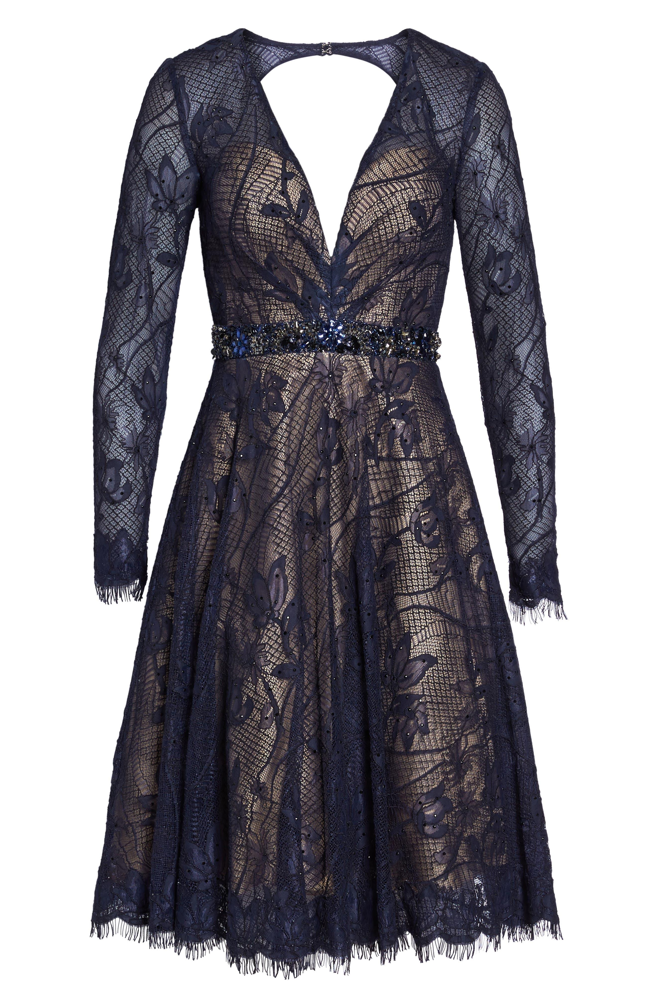 Open Back Lace A-Line Dress,                             Alternate thumbnail 6, color,                             405