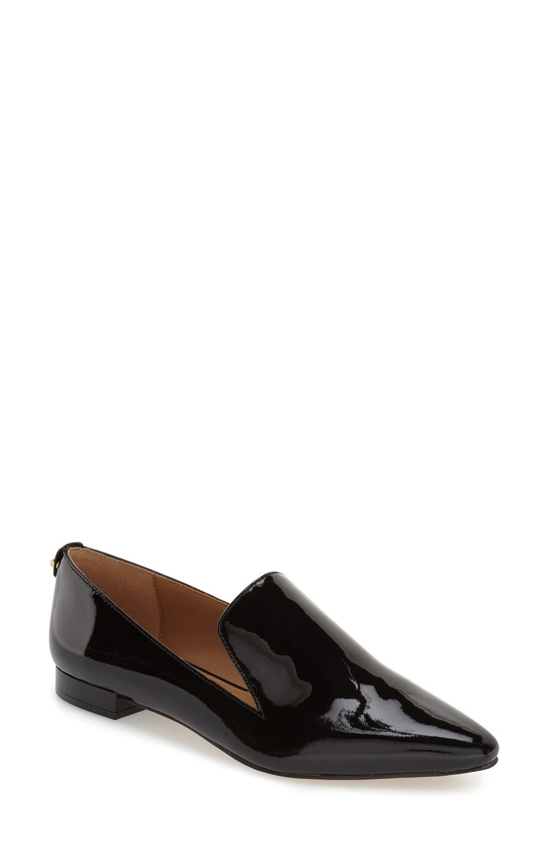 'Elin' Pointy Toe Loafer,                             Main thumbnail 1, color,                             BLACK PATENT