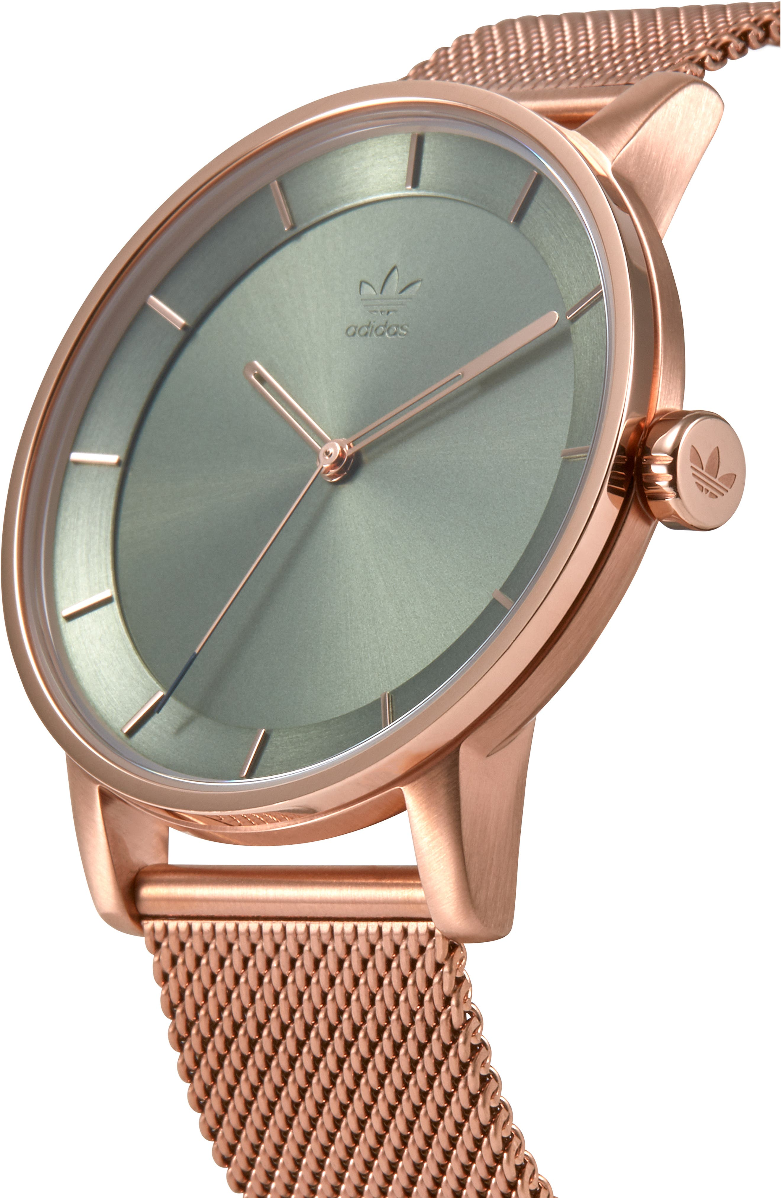 District Milanese Bracelet Watch, 40mm,                             Alternate thumbnail 4, color,                             BROWN/ GREEN/ ROSE GOLD