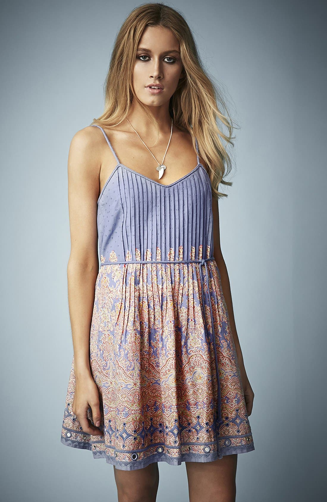 Kate Moss for Topshop Paisley Print Sundress,                         Main,                         color,