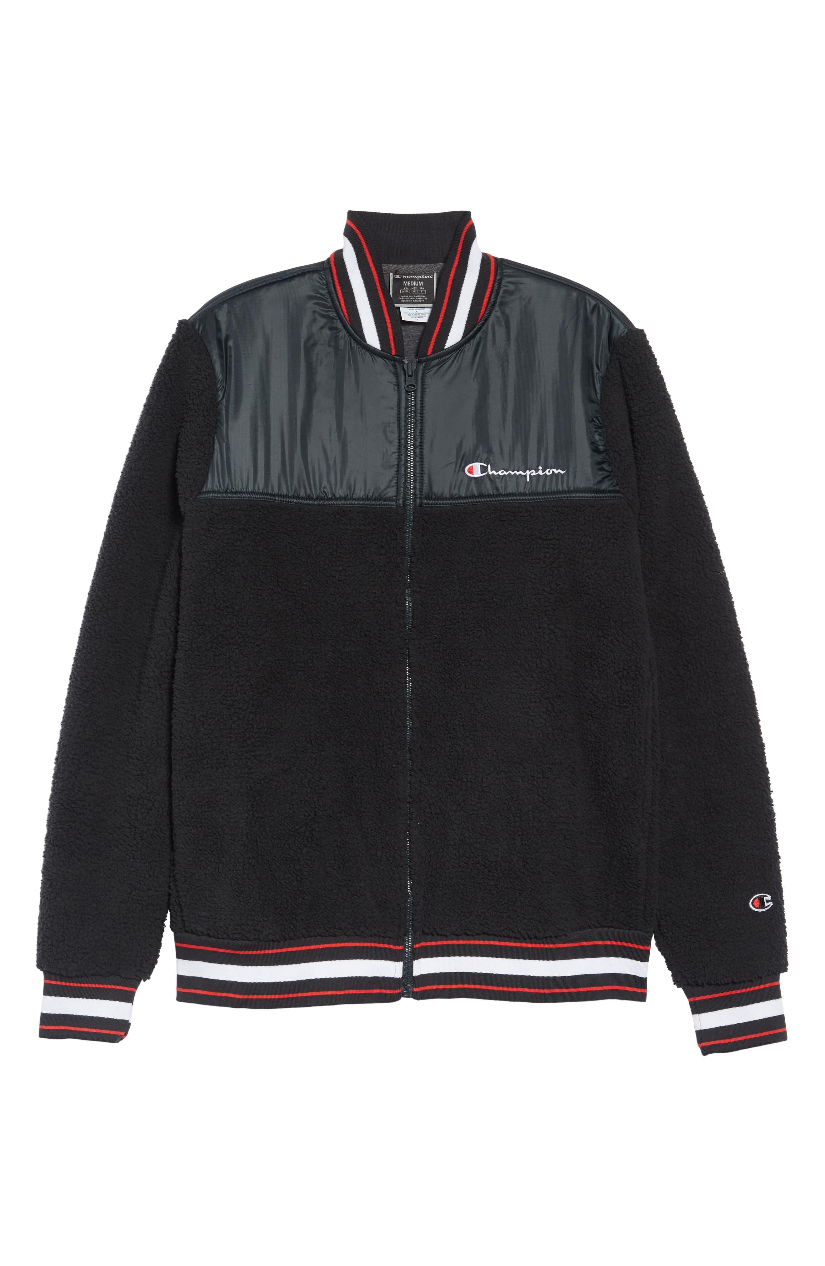 CHAMPION,                             Fleece Baseball Jacket,                             Alternate thumbnail 4, color,                             BLACK