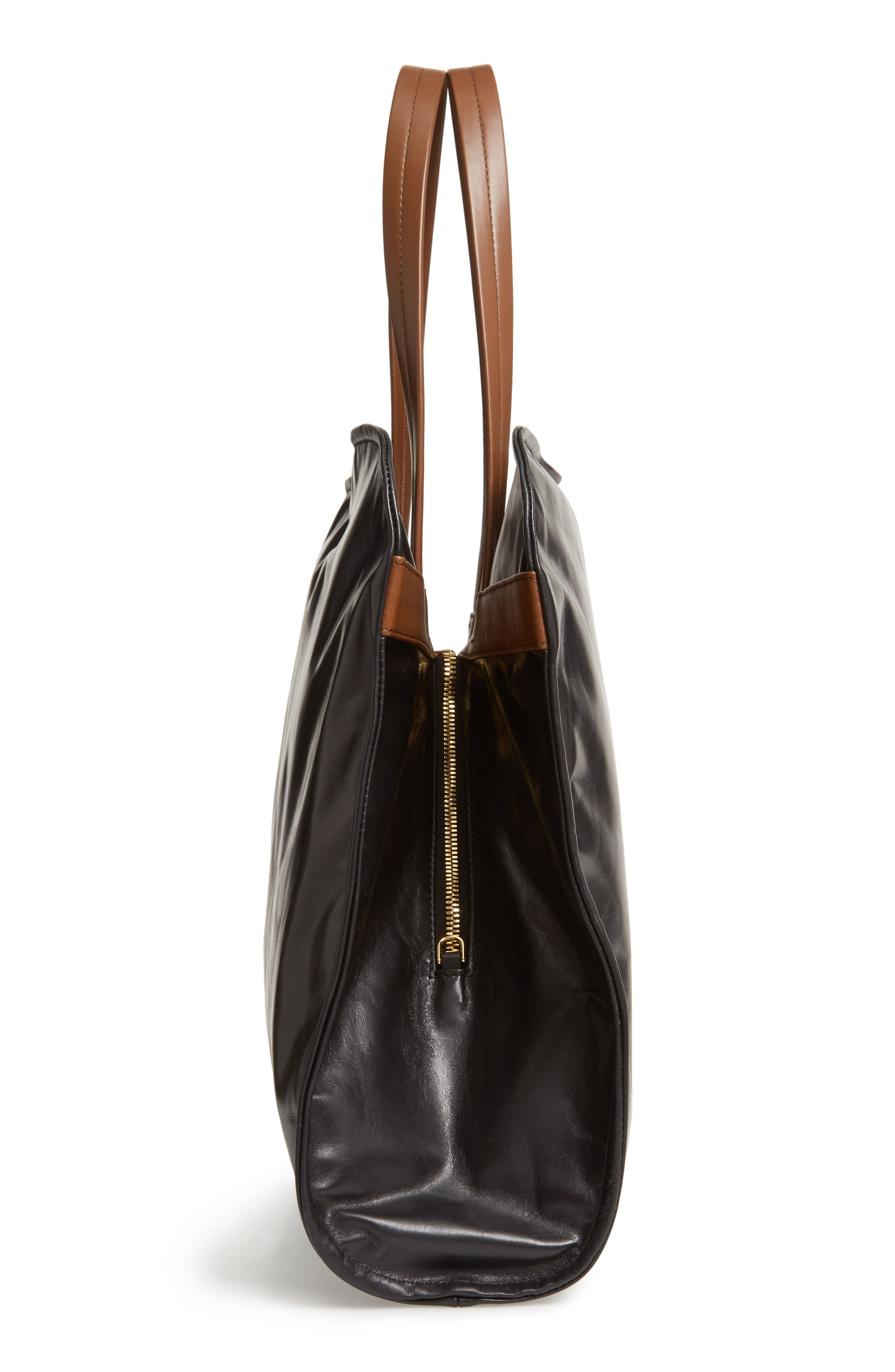 Cushion Leather Tote,                             Alternate thumbnail 5, color,                             BLACK/ MAROON