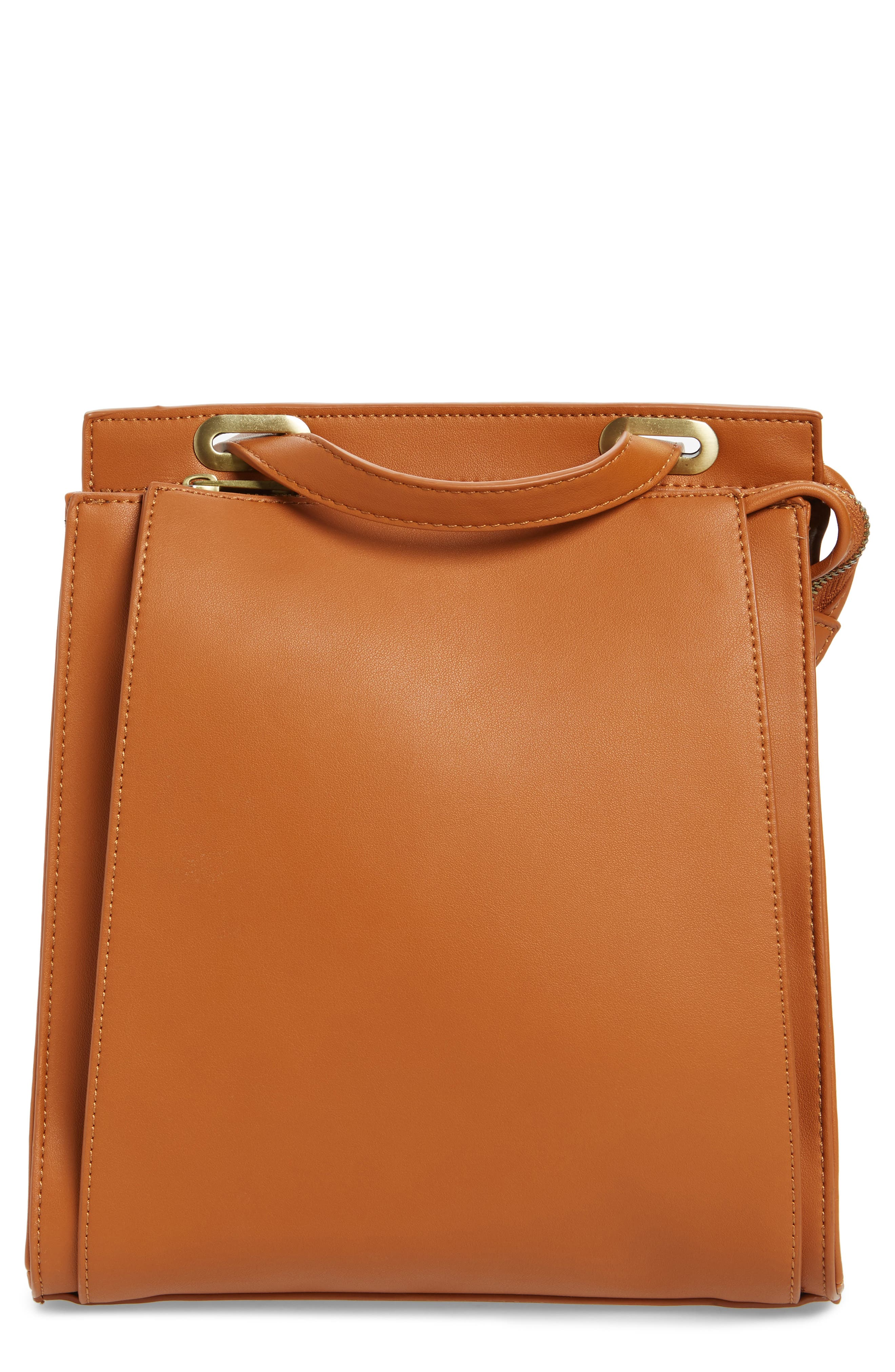 STREET LEVEL Faux Leather Convertible Backpack - Brown in Cognac/ Gold
