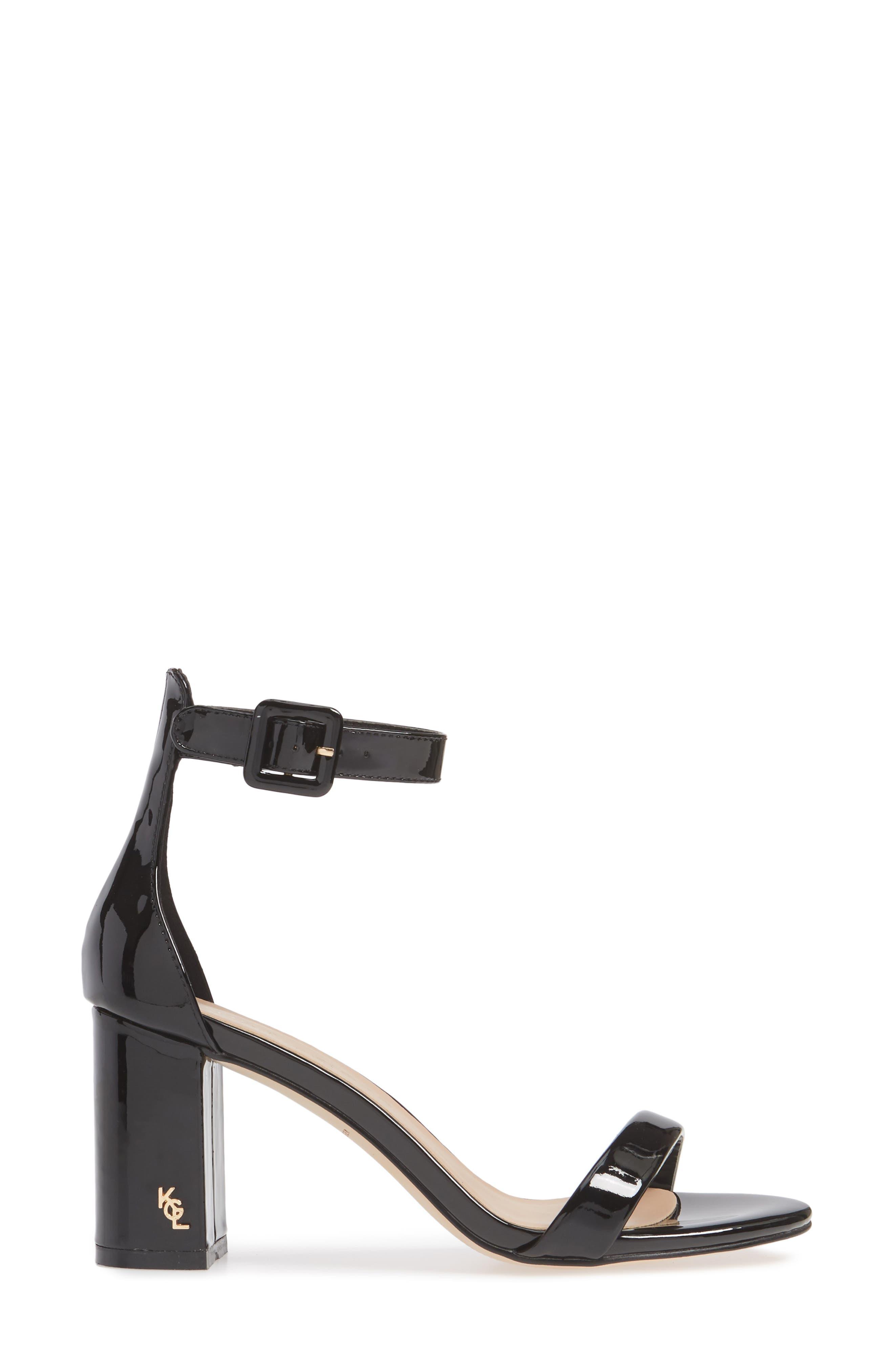 Langley Ankle Strap Sandal,                             Alternate thumbnail 3, color,                             BLACK LEATHER