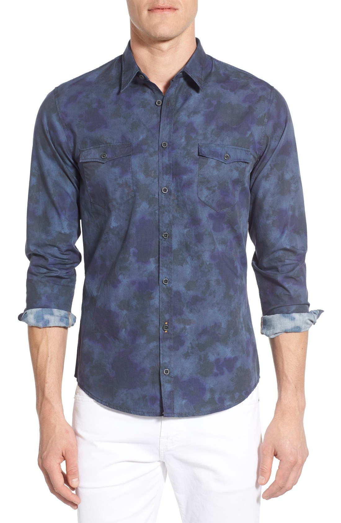 Edoslime Extra Trim Fit Print Woven Shirt,                         Main,                         color, 404