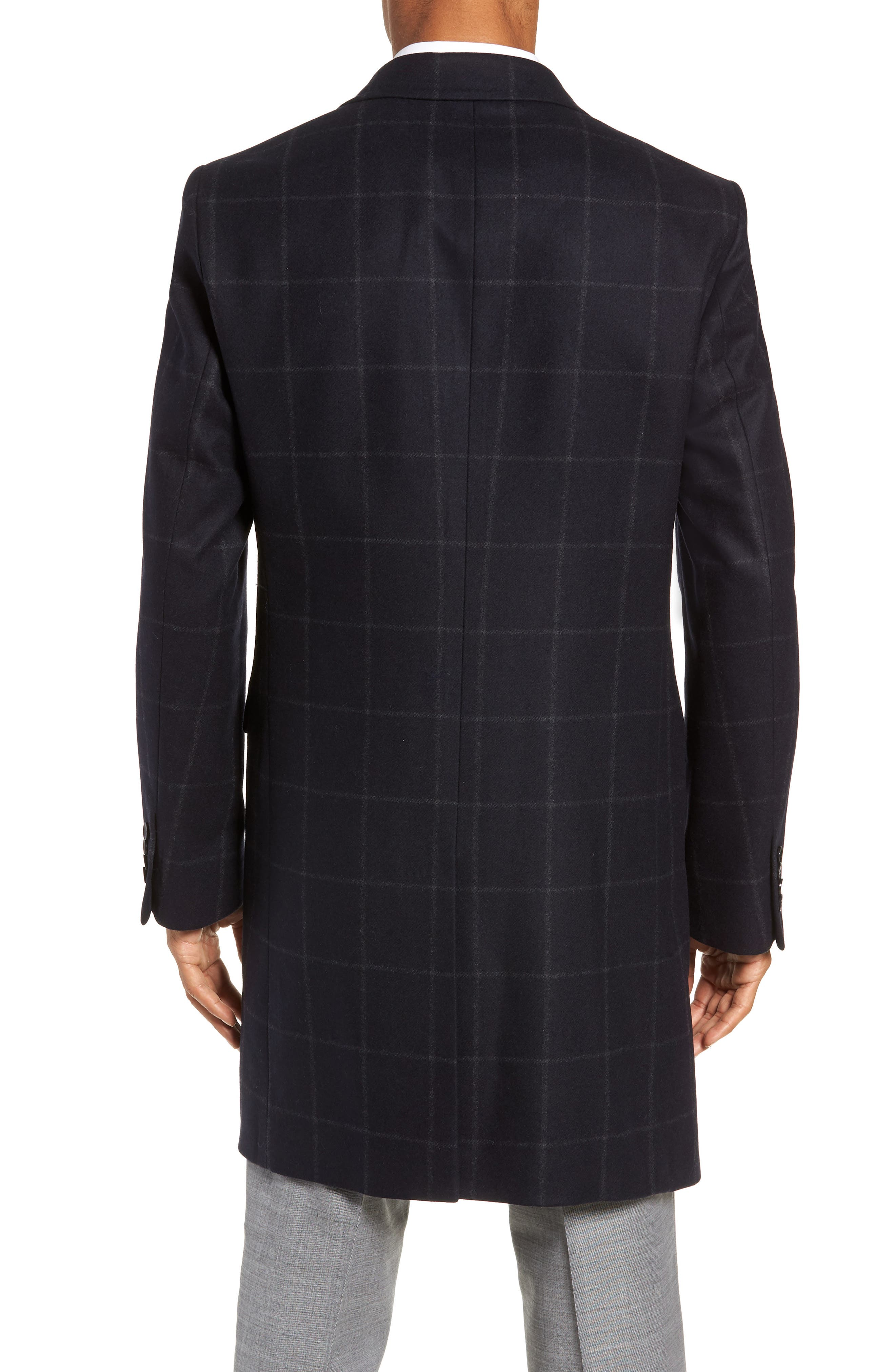 Addison Windowpane Wool Blend Overcoat,                             Alternate thumbnail 2, color,                             NAVY