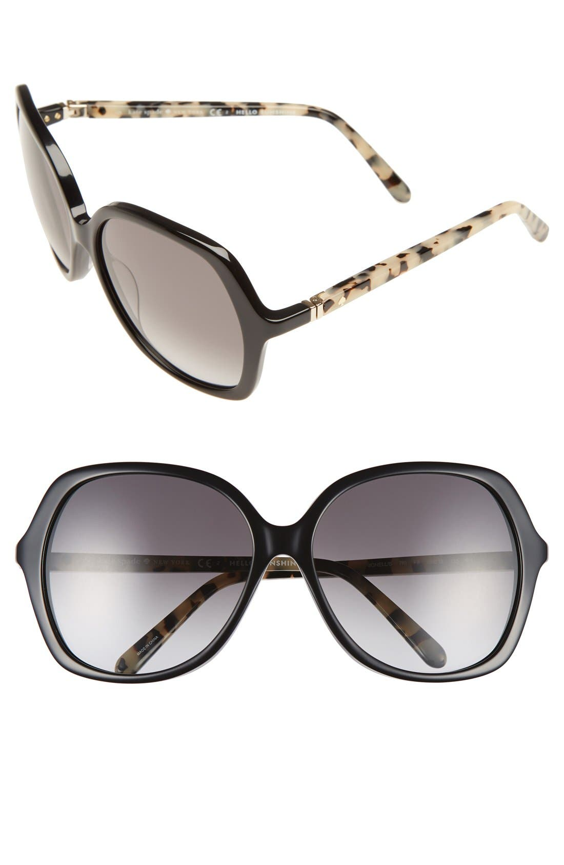 KATE SPADE NEW YORK,                             'jonell' 58mm oversized sunglasses,                             Main thumbnail 1, color,                             001