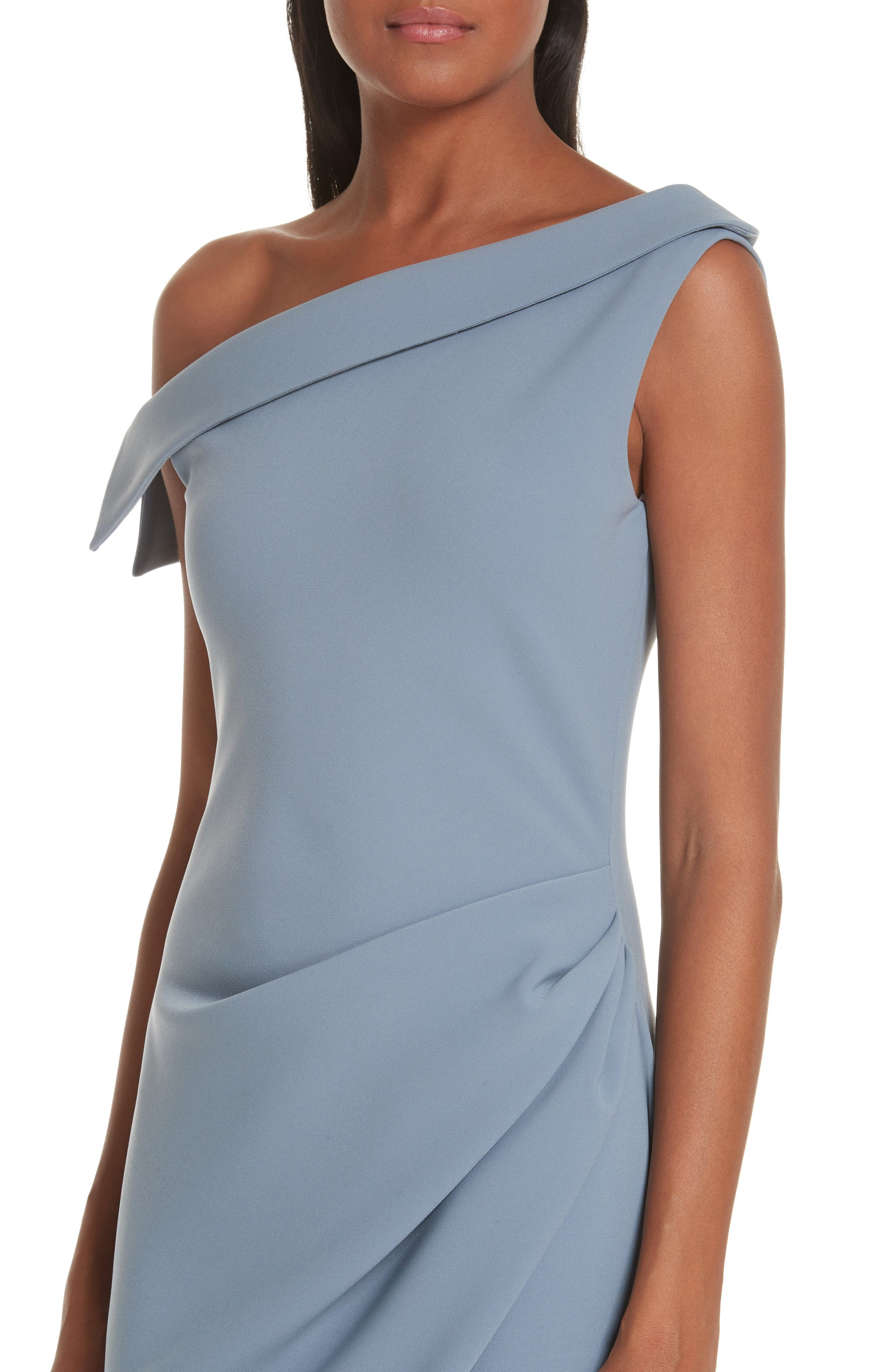One-Shoulder Evening Dress,                             Alternate thumbnail 4, color,                             SHADOW BLUE