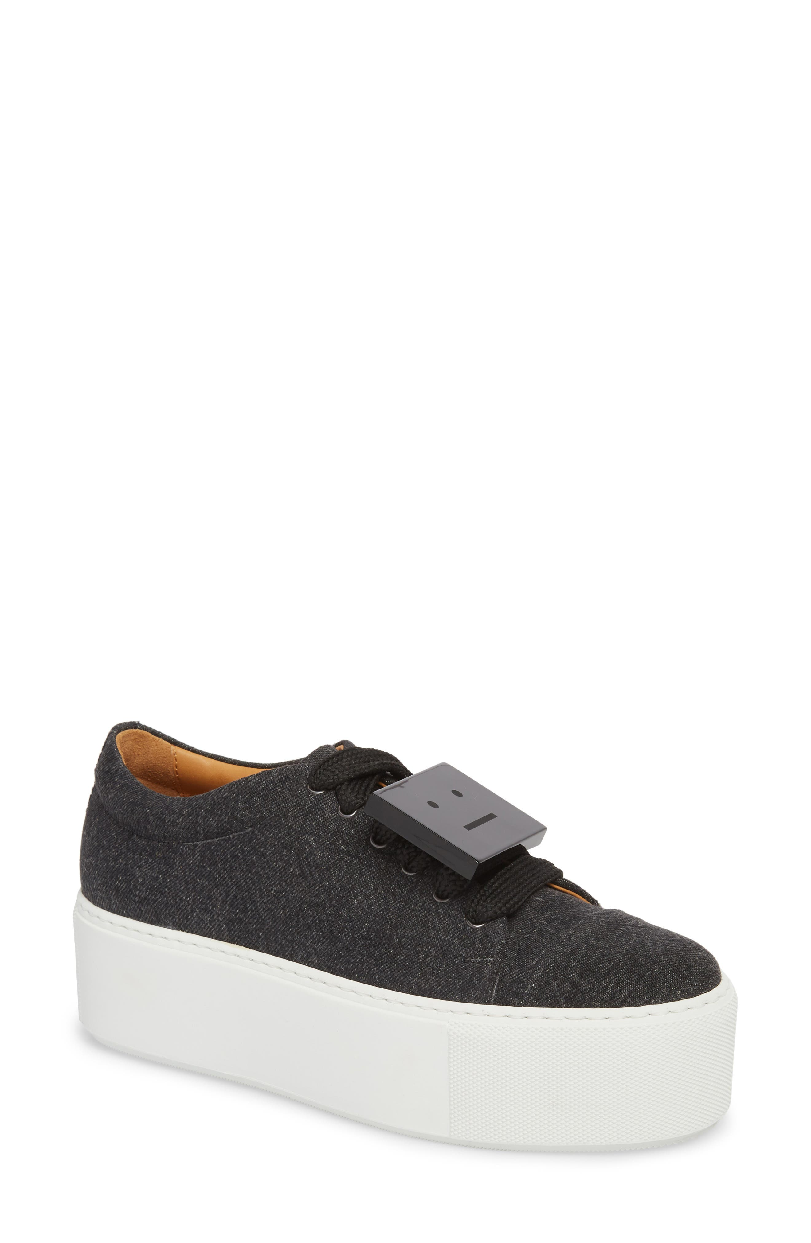 Drihanna Denim Platform Sneaker,                             Main thumbnail 1, color,                             001