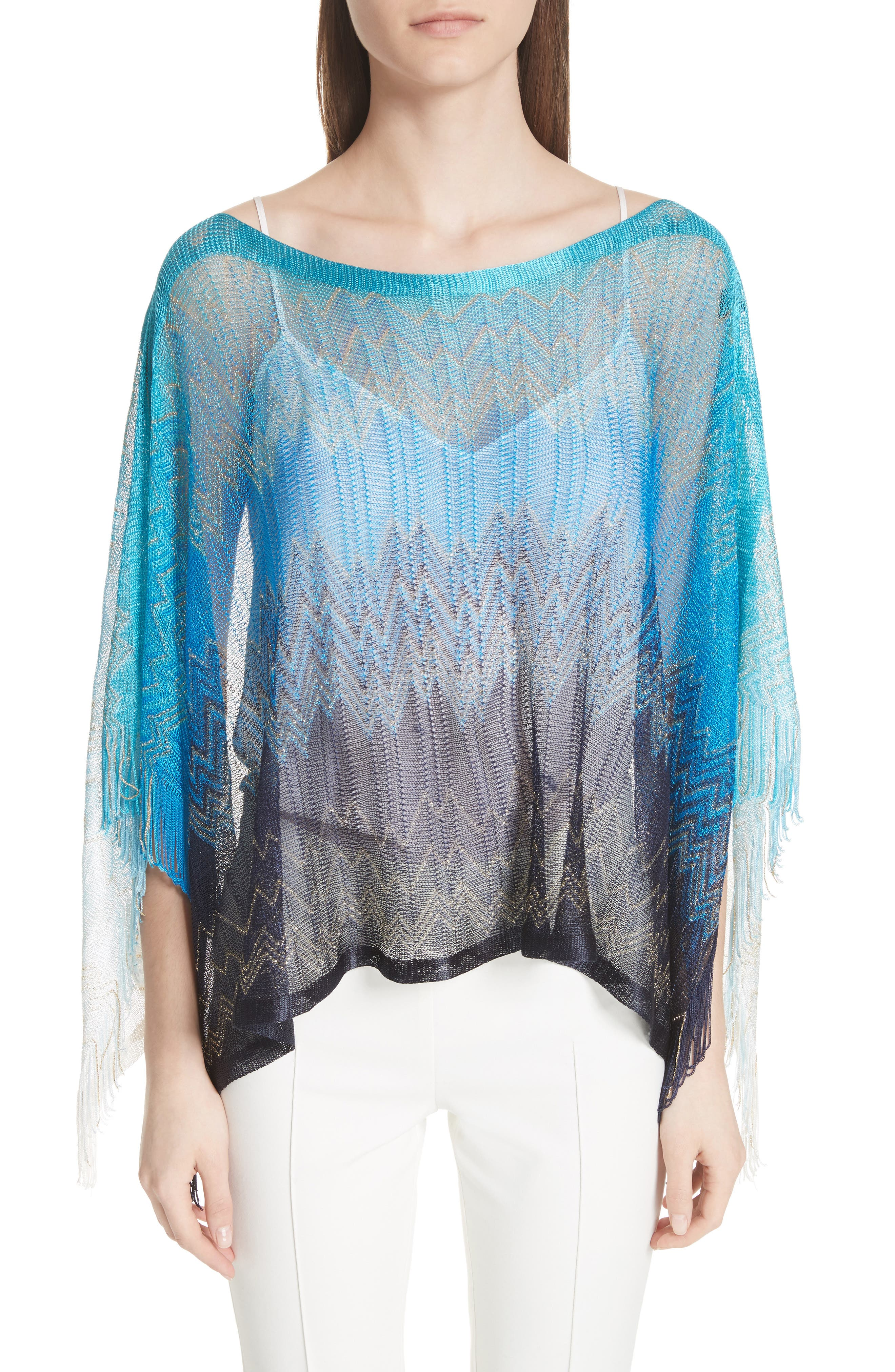 Zigzag Cover-Up Tunic,                             Main thumbnail 1, color,                             BLUE