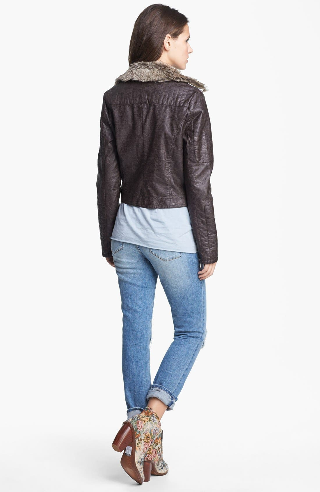 Faux Leather Moto Jacket With Faux Fur Collar,                             Alternate thumbnail 4, color,                             208