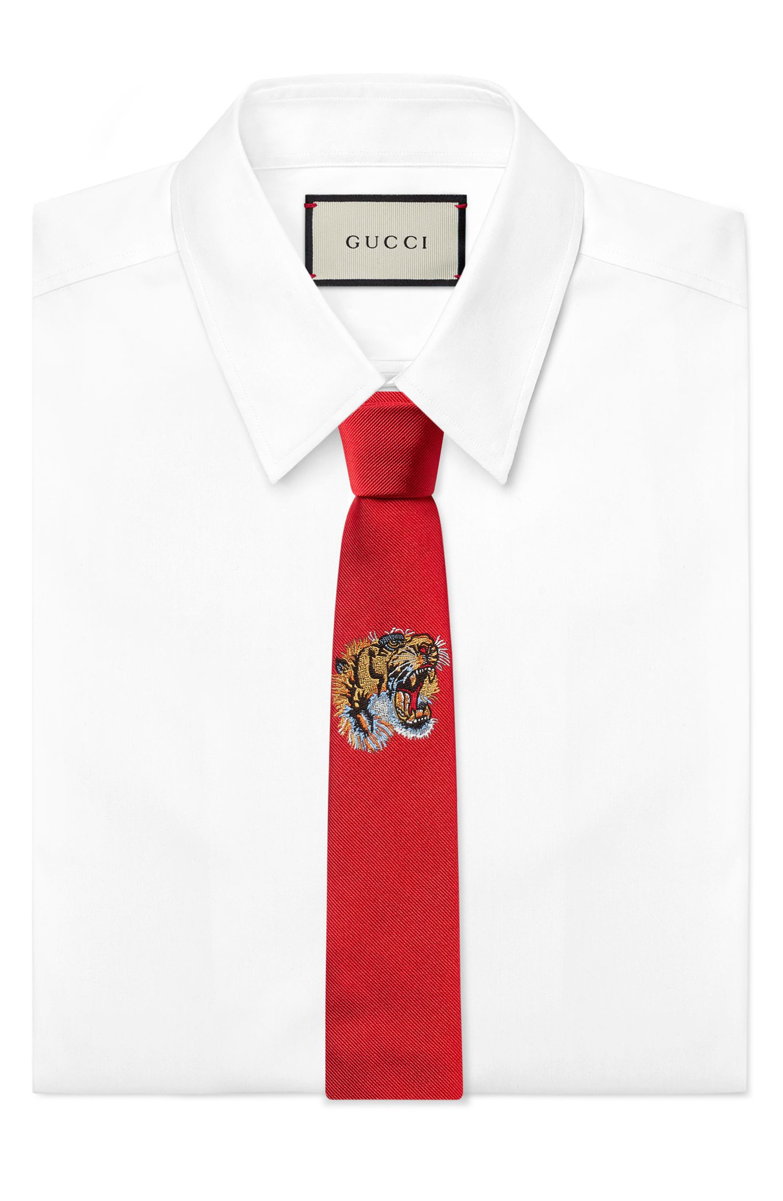 Tiger Embroidered Silk Tie,                             Alternate thumbnail 2, color,                             RED