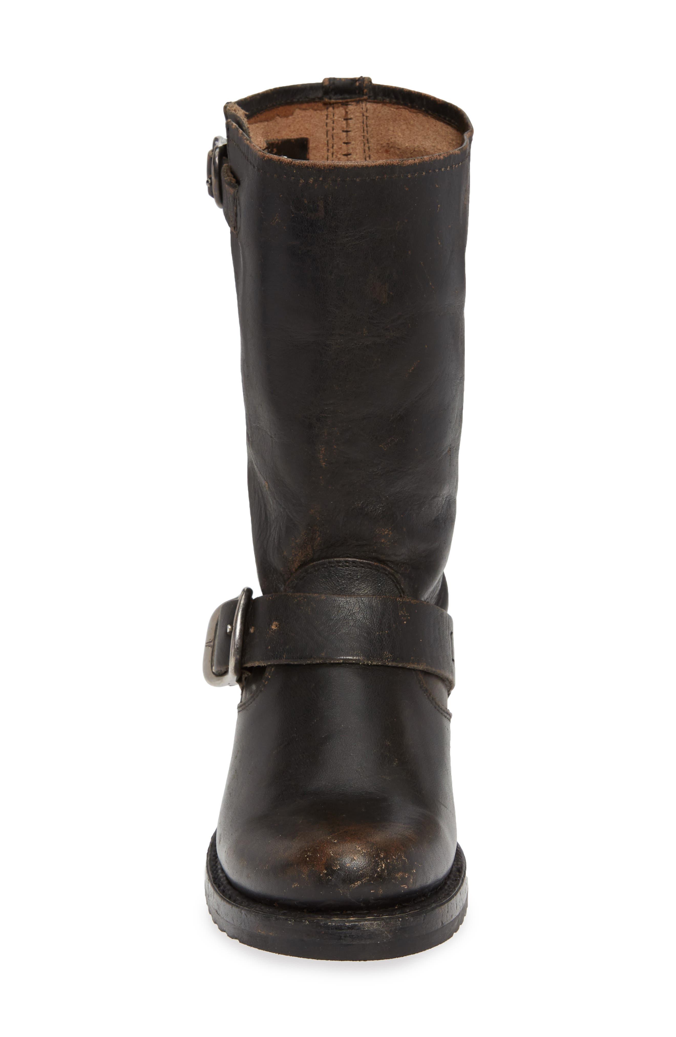 'Veronica' Short Boot,                             Alternate thumbnail 4, color,                             BLACK BRUSH OFF LEATHER