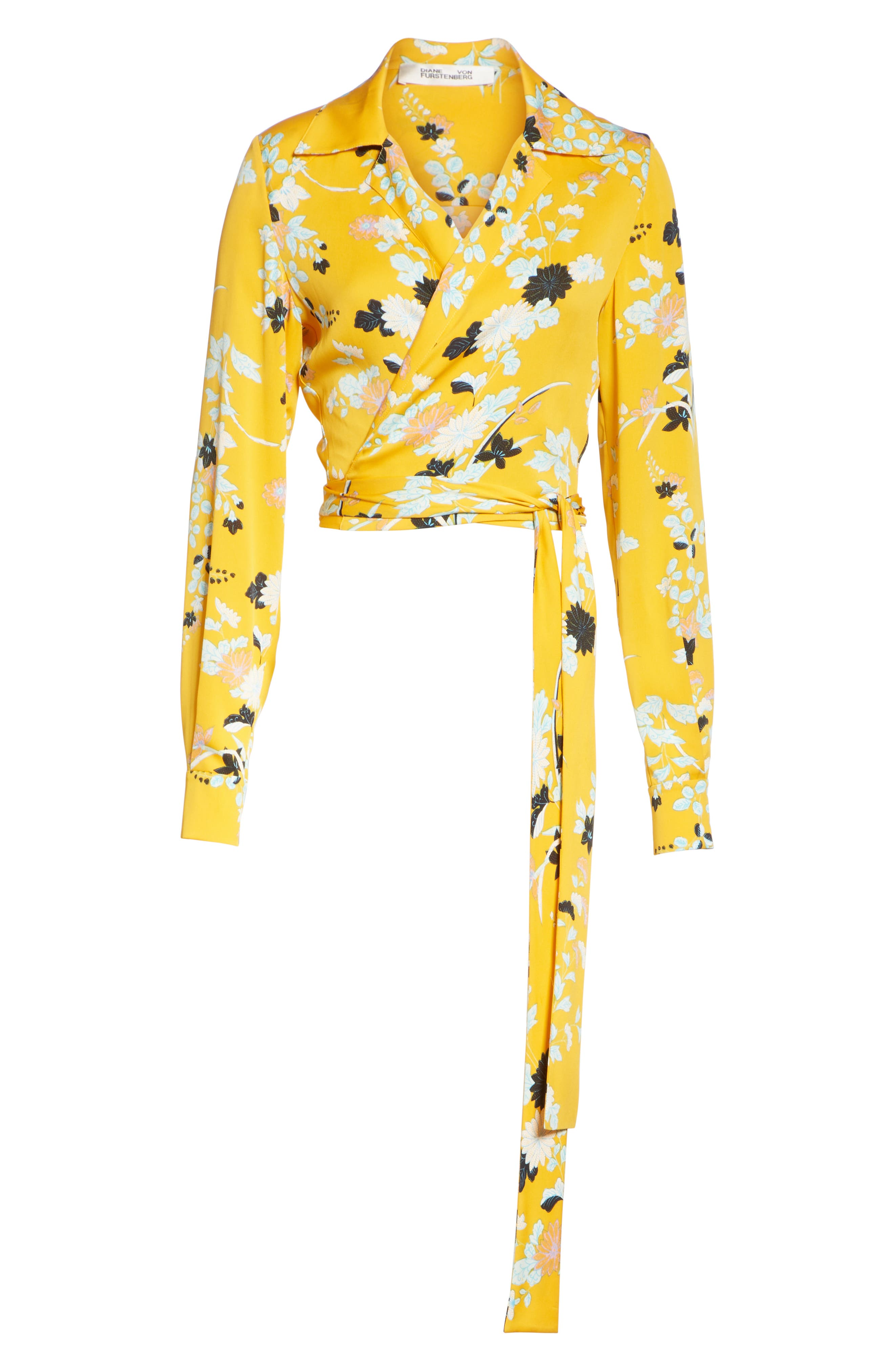 Floral Silk Wrap Blouse,                             Alternate thumbnail 6, color,