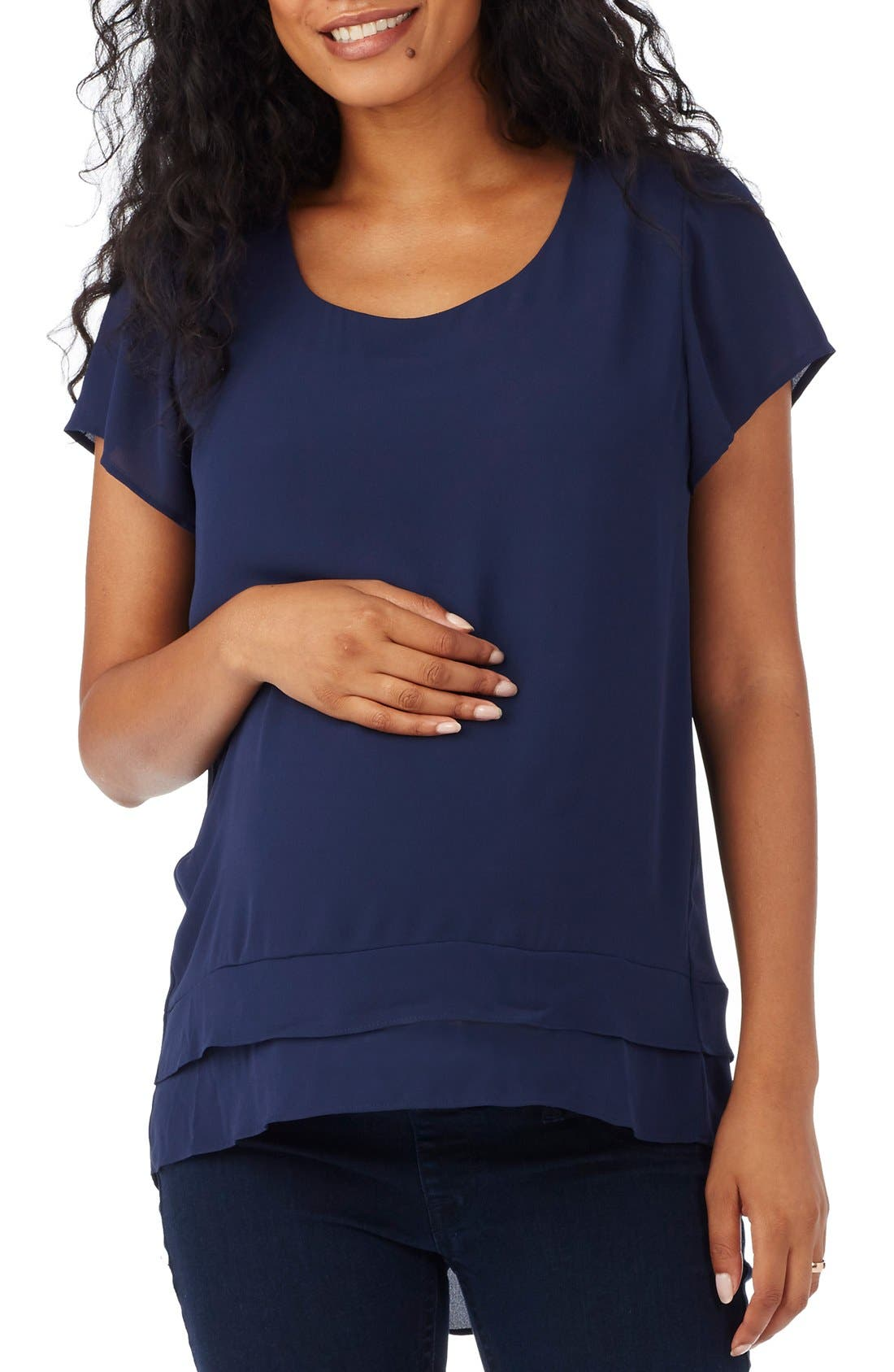 'Charlie' Flutter Sleeve Maternity Top,                             Main thumbnail 1, color,                             410