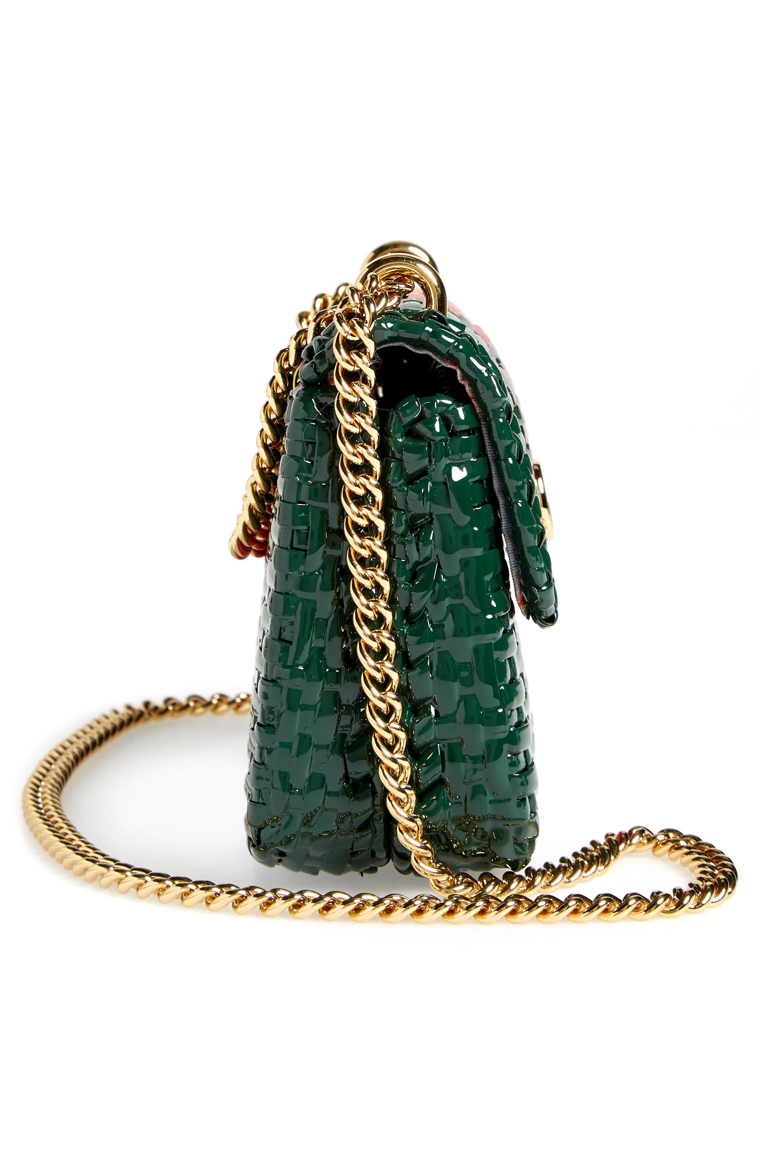 Small Linea Cestino Glazed Wicker Shoulder Bag,                             Alternate thumbnail 5, color,                             VERDE ROSSO VERDE