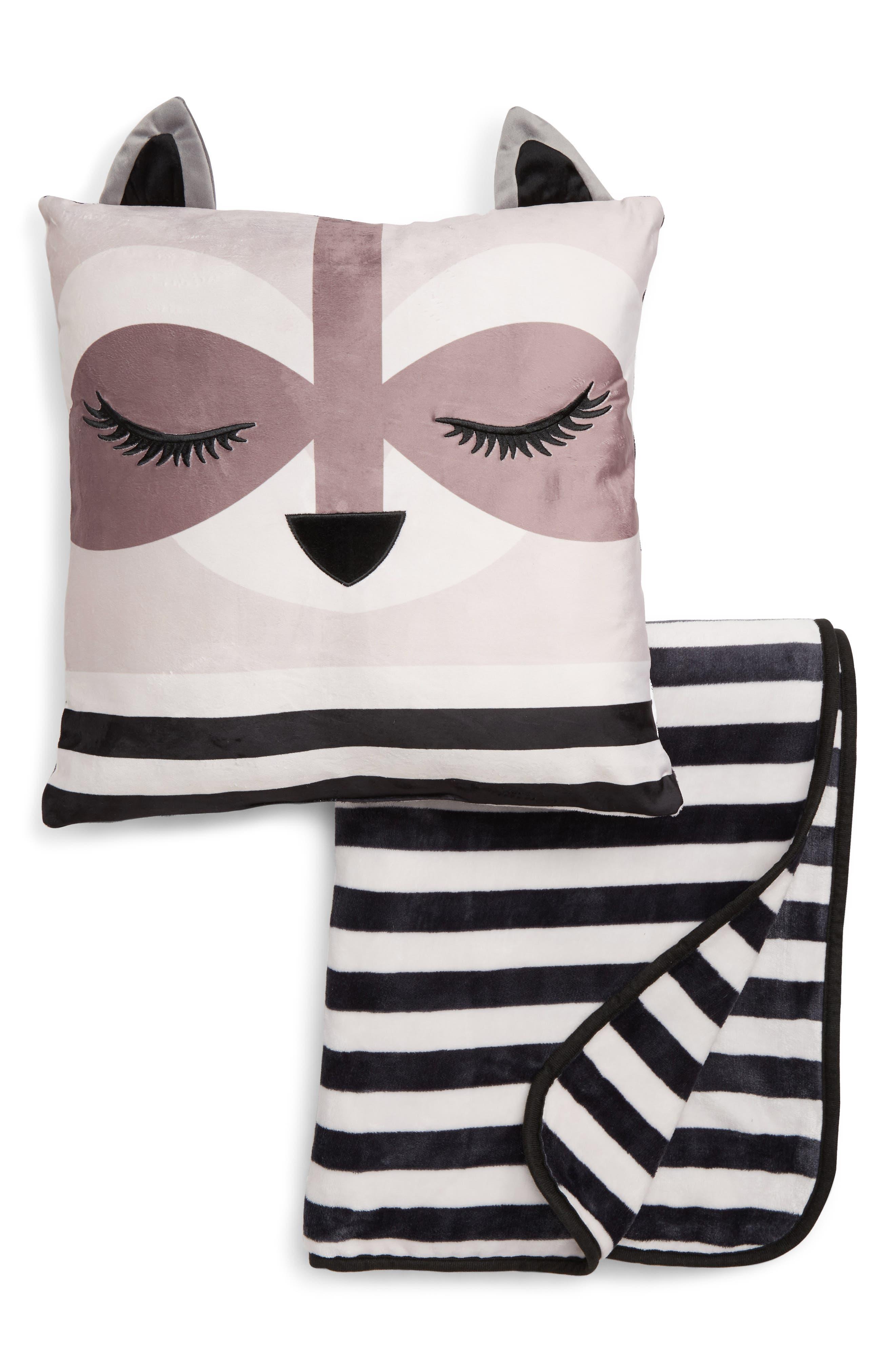 Raccoon Pillow & Blanket Set,                         Main,                         color, RACCOON