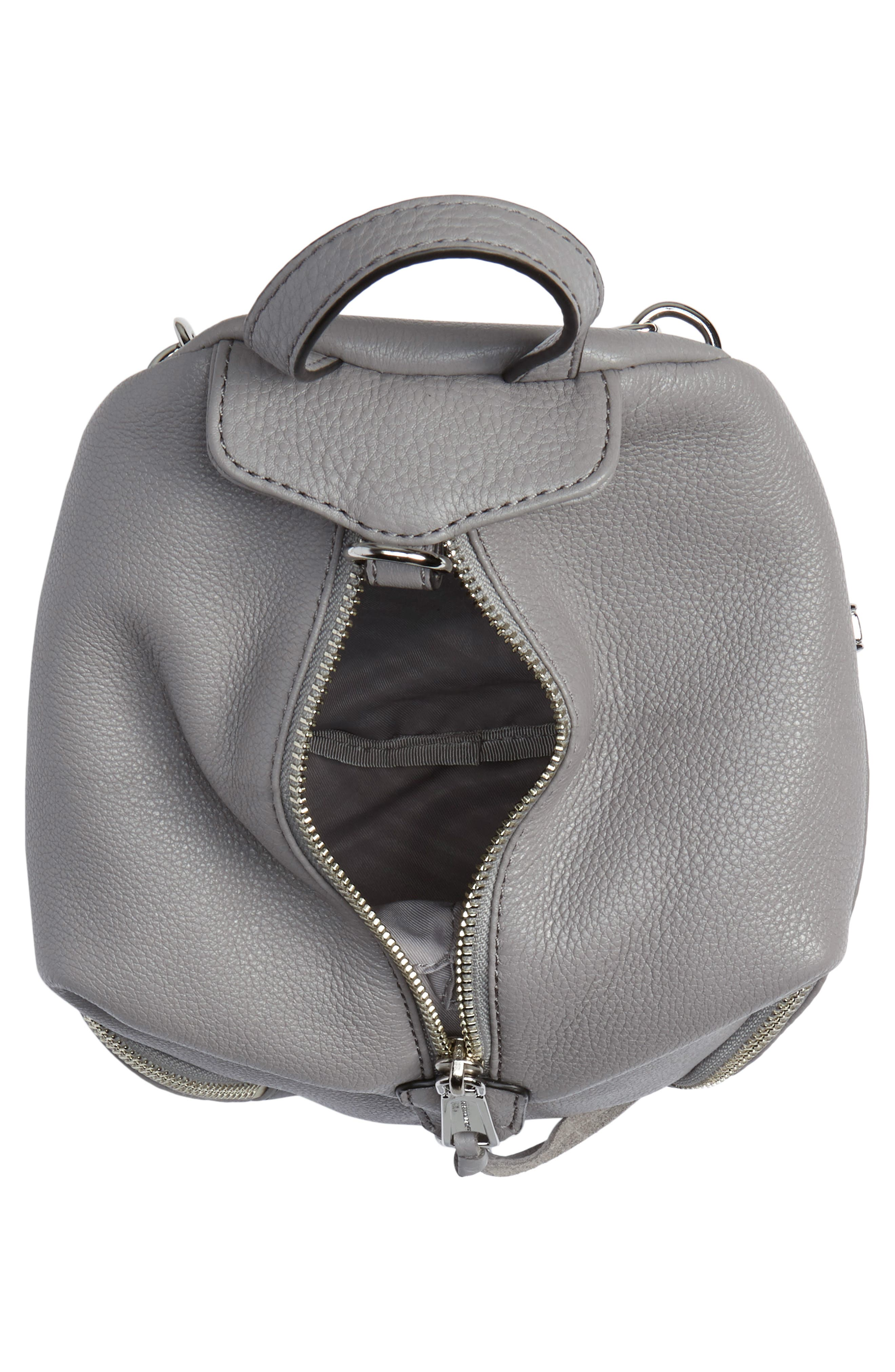 Mini Julian Pebbled Leather Convertible Backpack,                             Alternate thumbnail 4, color,                             GREY