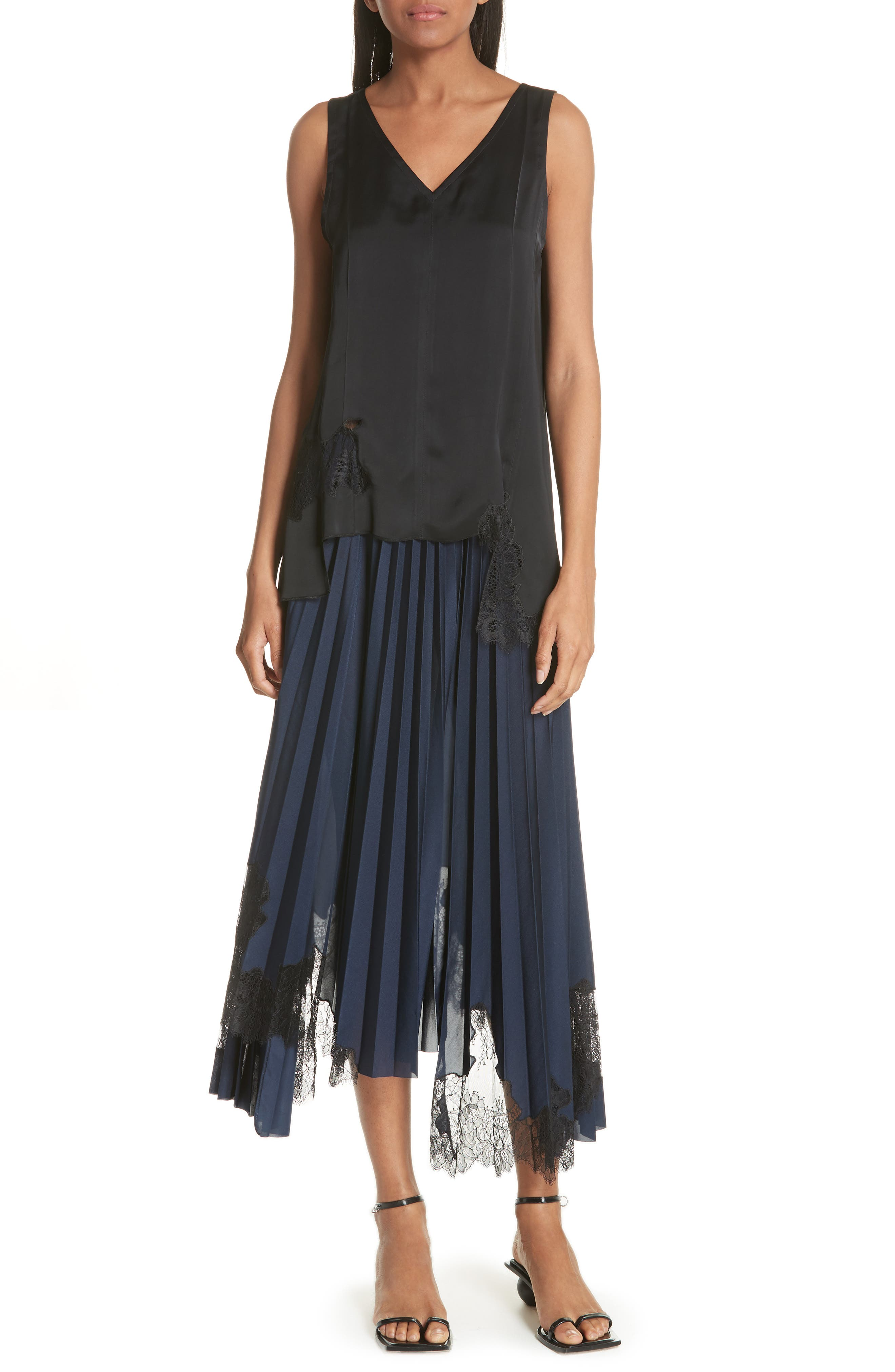 Pleated Lace Inset Skirt,                             Alternate thumbnail 7, color,                             BLUE
