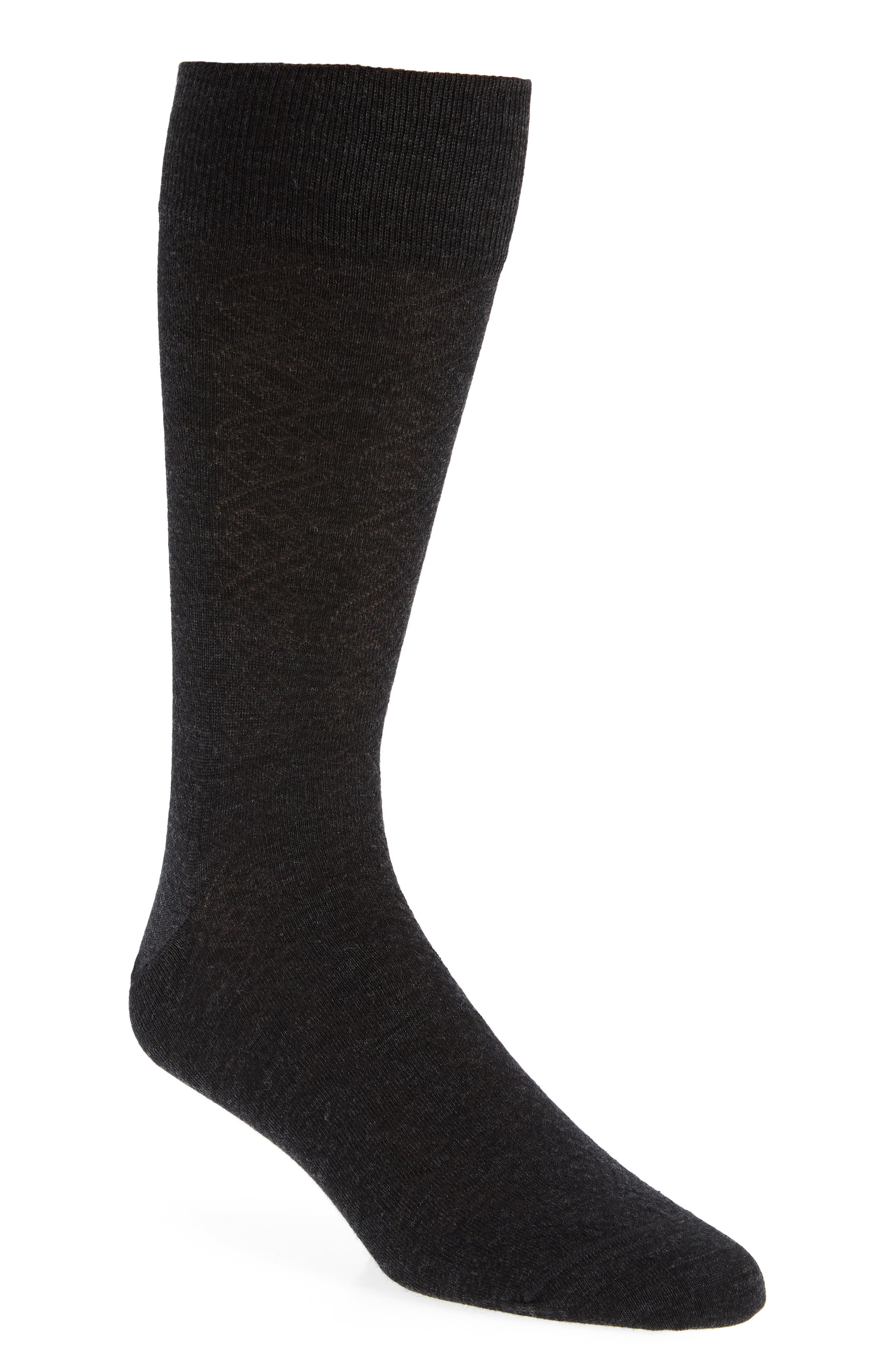 Cable Merino Wool Blend Socks,                             Main thumbnail 1, color,                             CHARCOAL HEATHER