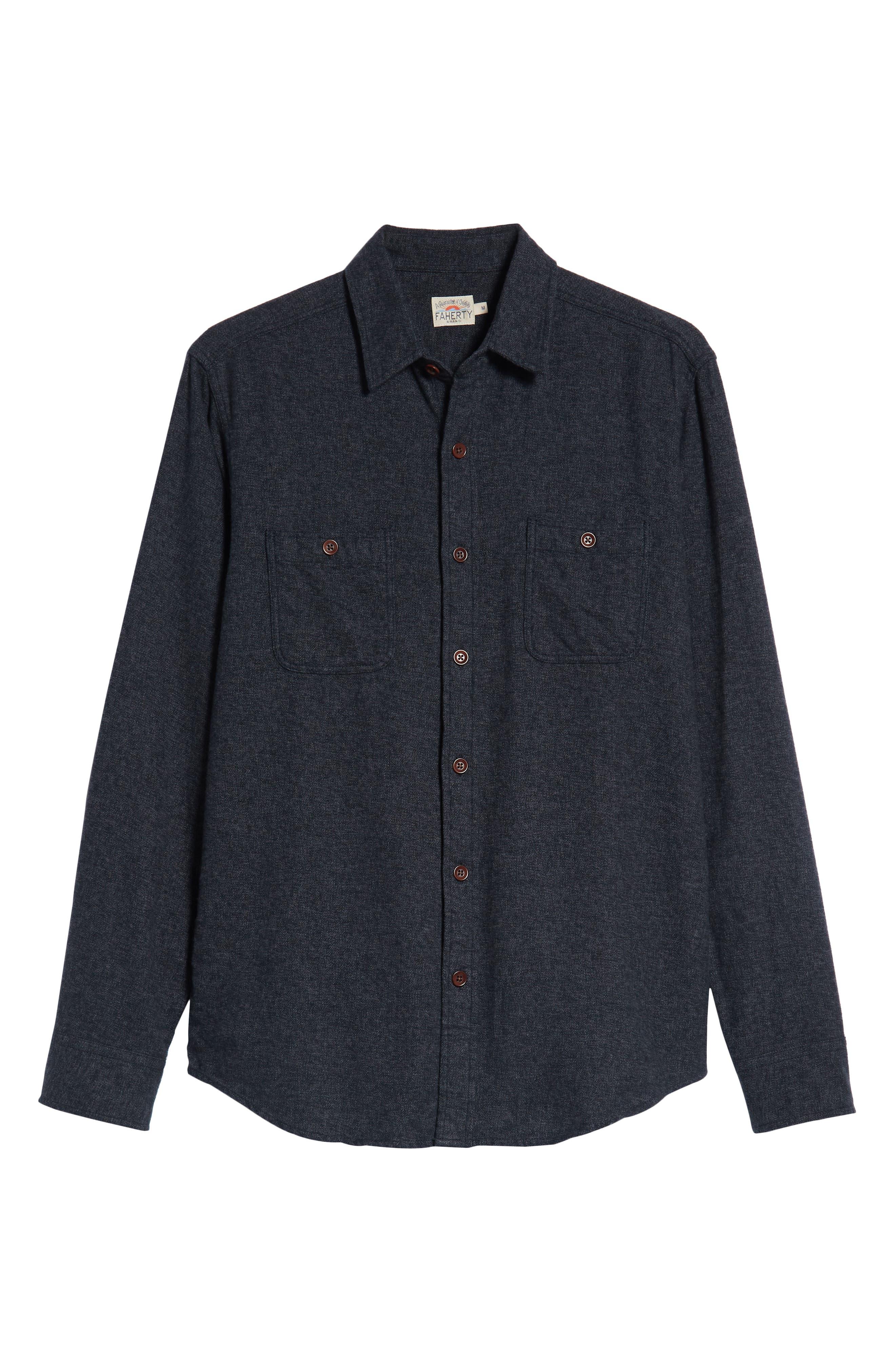Seasons Organic Cotton Flannel Sport Shirt,                             Alternate thumbnail 5, color,                             WASHED BLACK