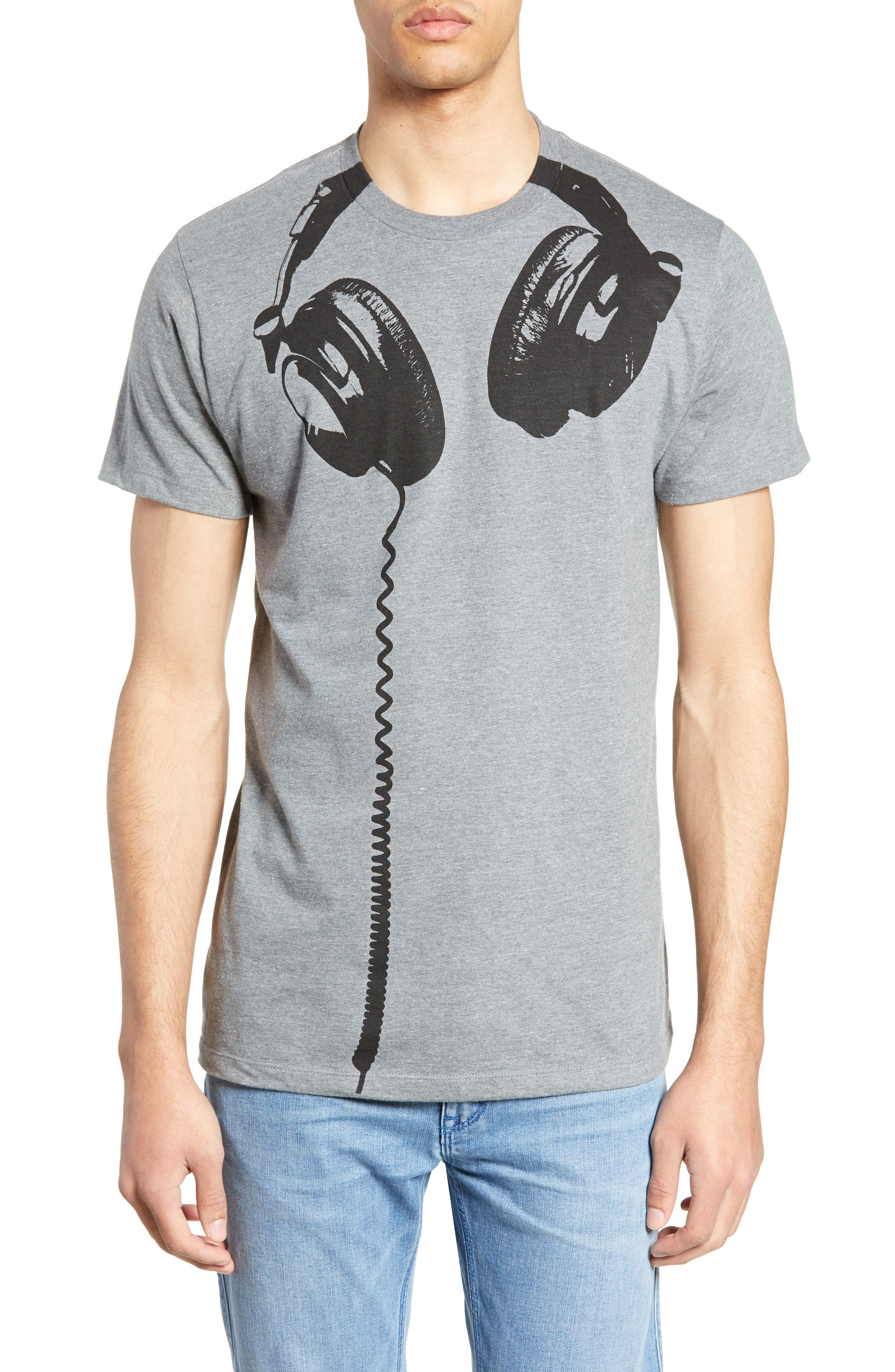 Impact Merchandising Headphones Graphic T-Shirt, Grey