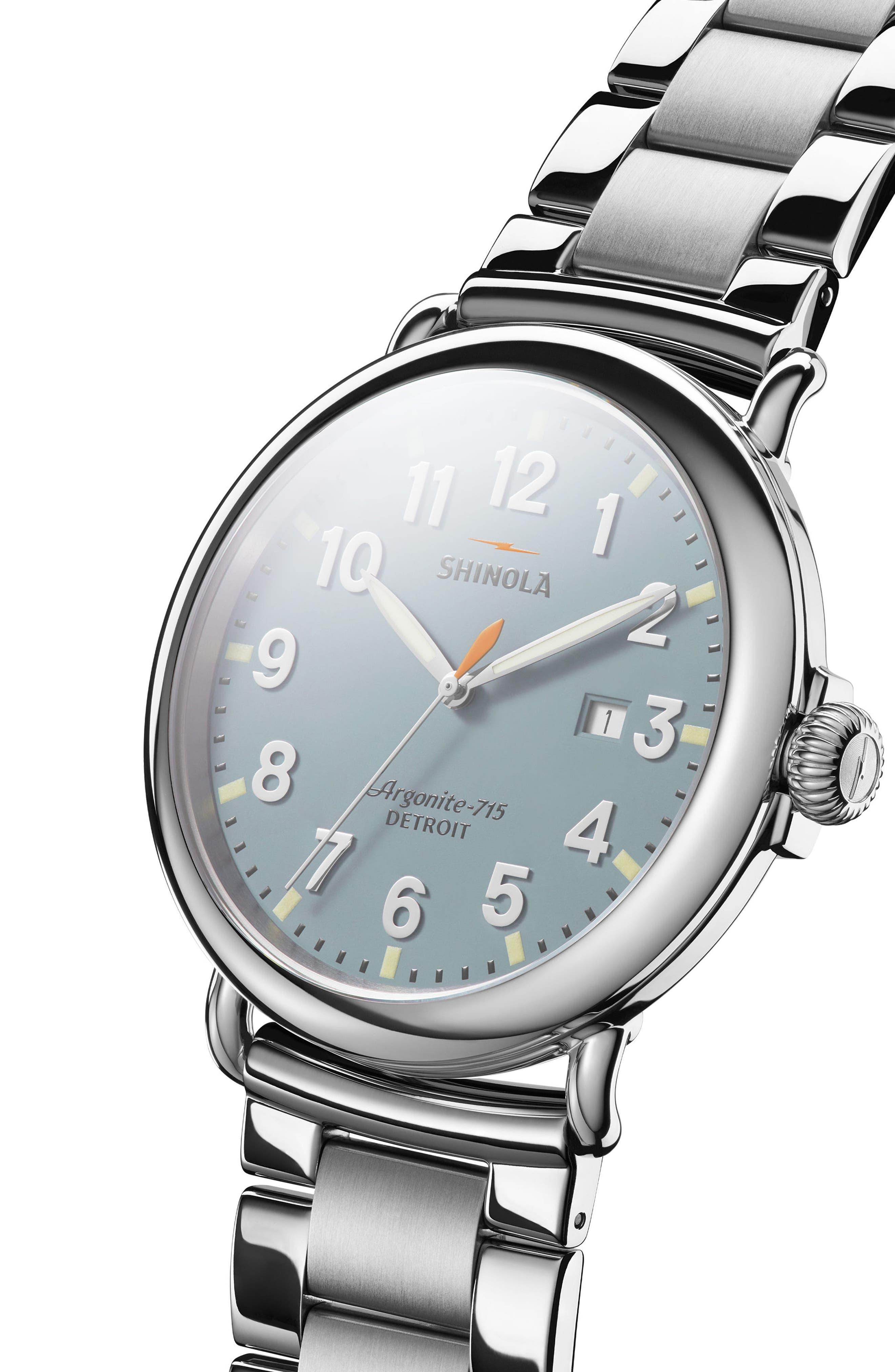 The Runwell Bracelet Watch, 47mm,                             Alternate thumbnail 4, color,                             SILVER/ SLATE BLUE/ SILVER
