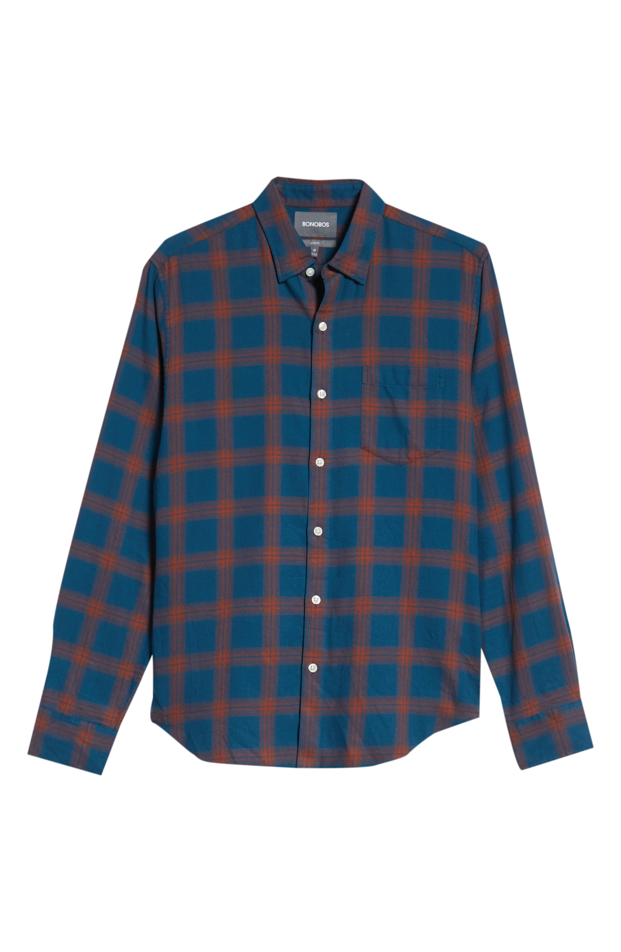 Slim Fit Check Brushed Twill Sport Shirt,                             Alternate thumbnail 5, color,                             CHECK TEAL