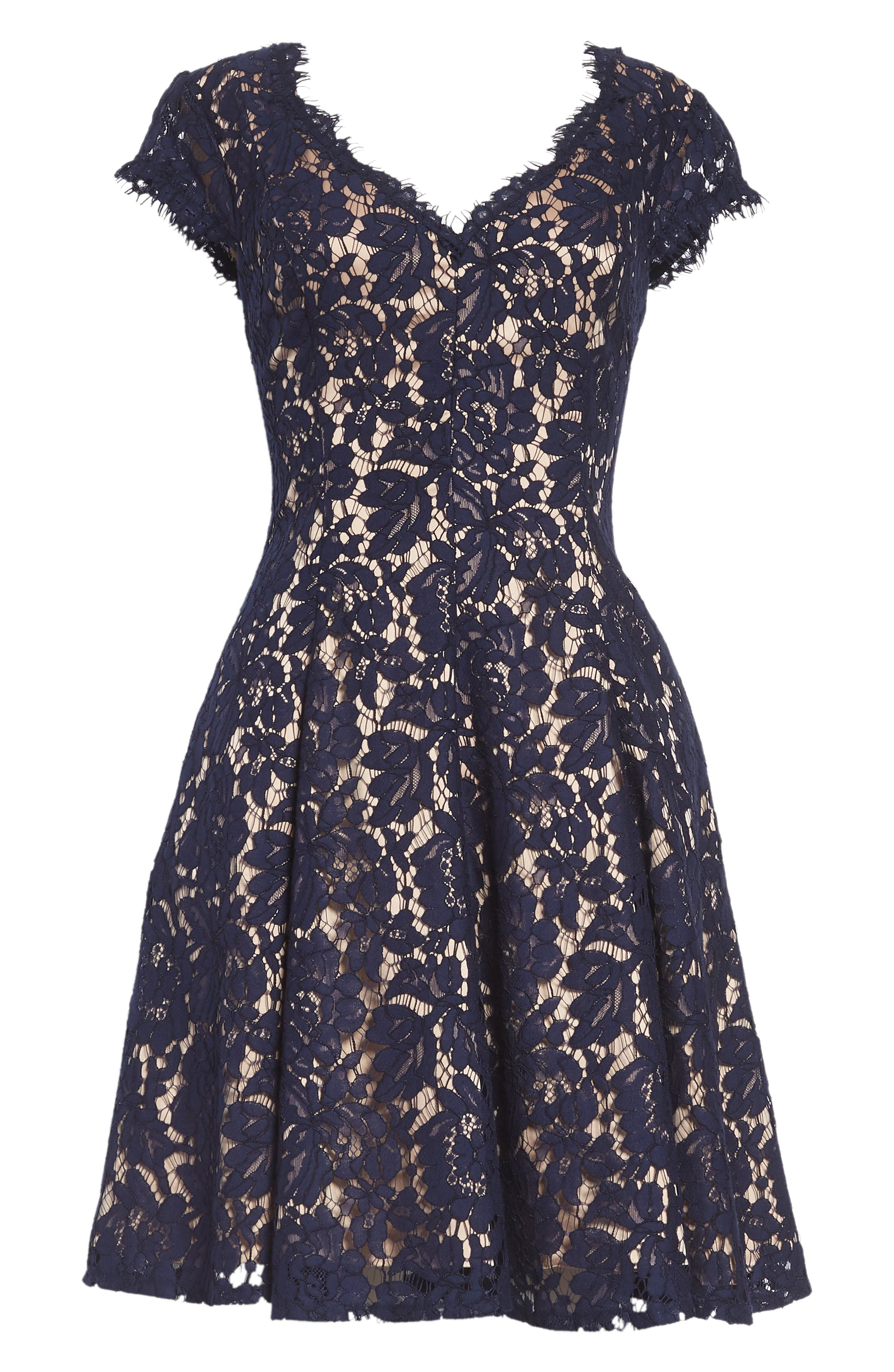 Lace Fit & Flare Dress,                             Alternate thumbnail 7, color,                             410